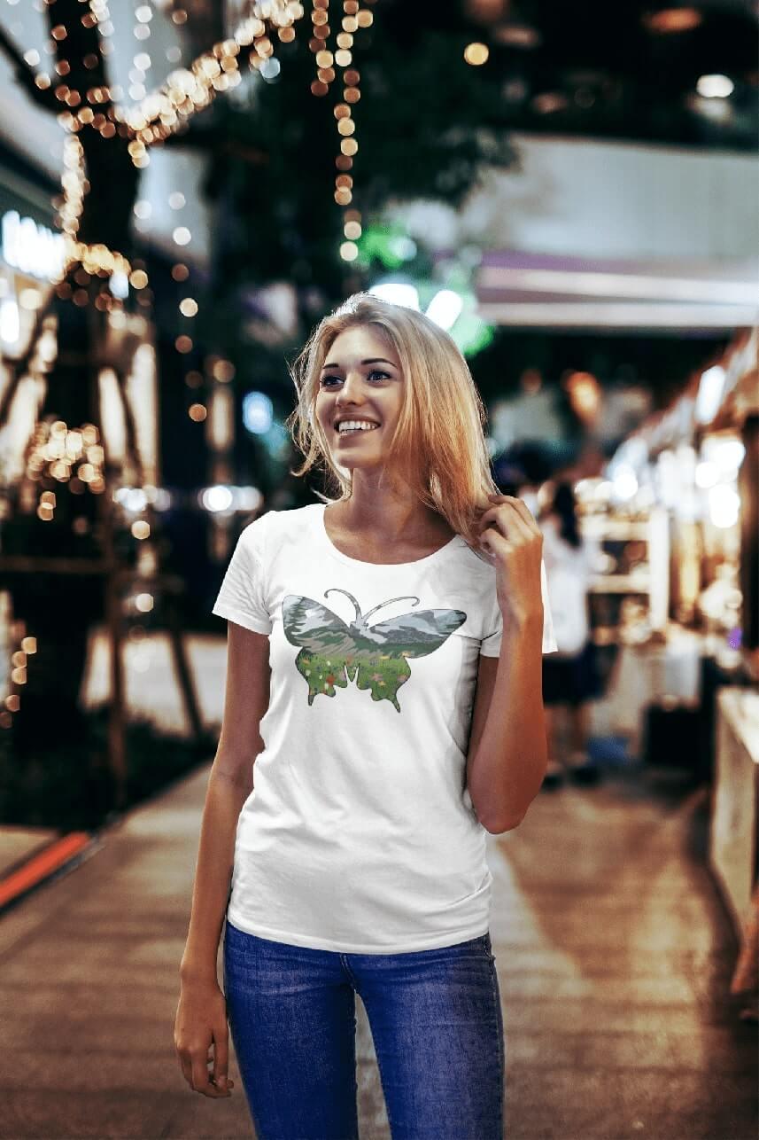 MMO Dámske tričko Motýľ Vyberte farbu: Biela, Dámska veľkosť: S
