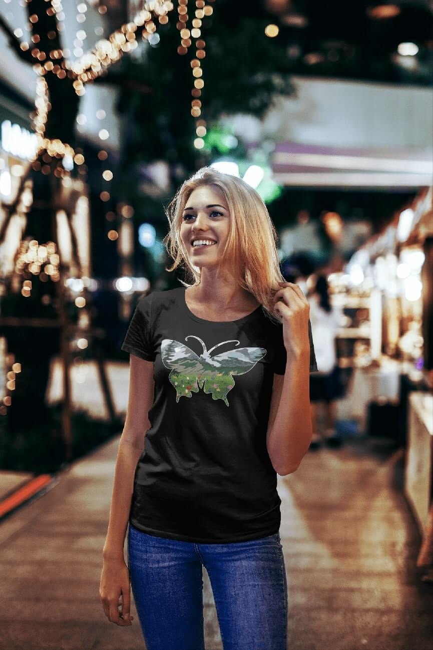 MMO Dámske tričko Motýľ Vyberte farbu: Čierna, Dámska veľkosť: S