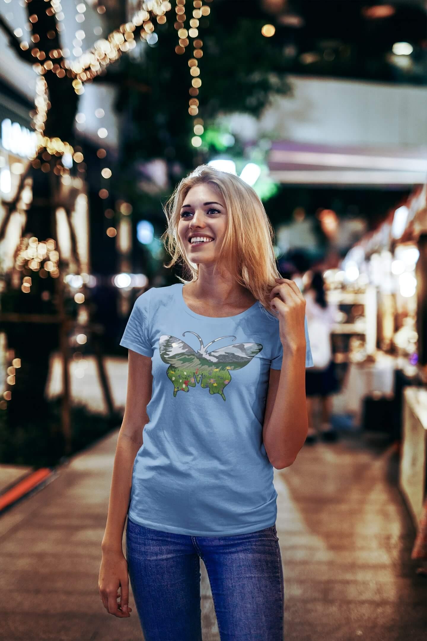 MMO Dámske tričko Motýľ Vyberte farbu: Svetlomodrá, Dámska veľkosť: S