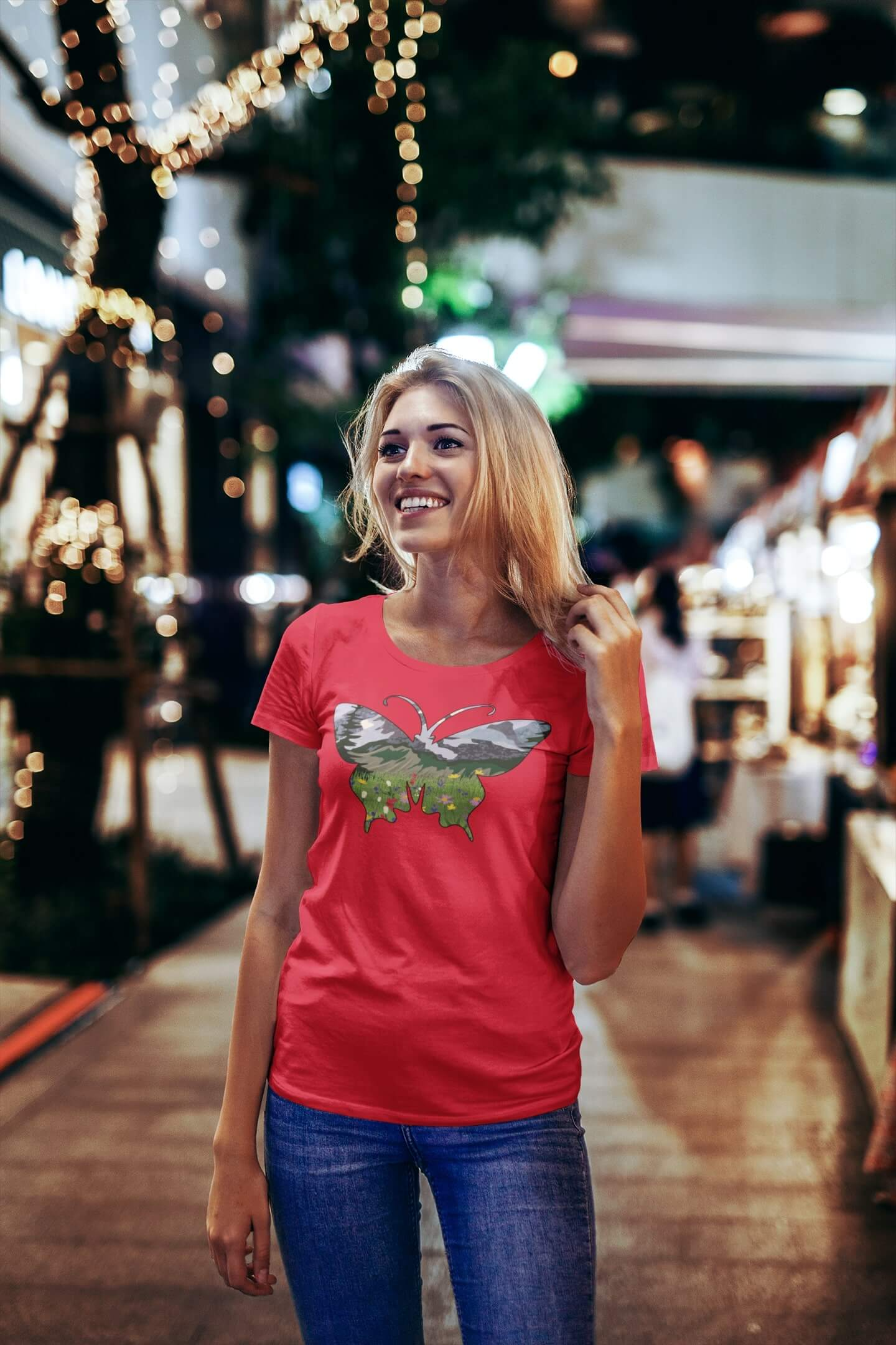 MMO Dámske tričko Motýľ Vyberte farbu: Červená, Vyberte veľkosť: S