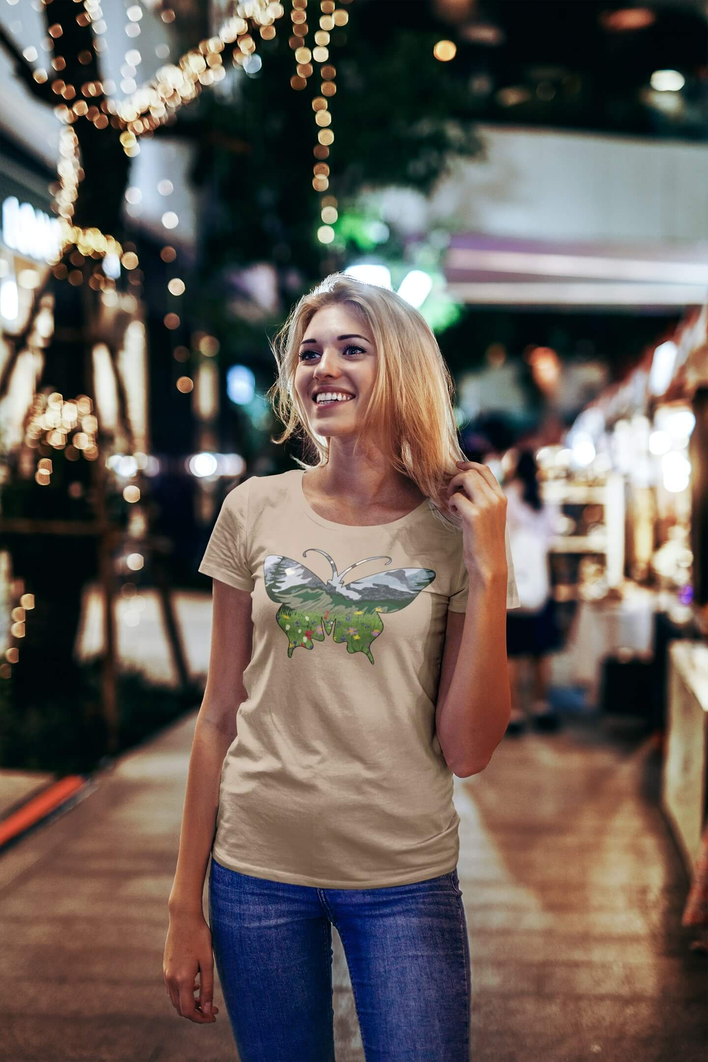MMO Dámske tričko Motýľ Vyberte farbu: Piesková, Dámska veľkosť: S