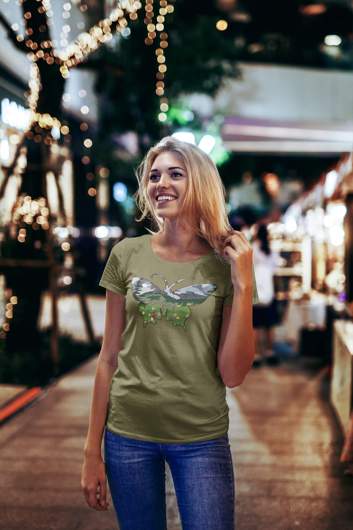 MMO Dámske tričko Motýľ Vyberte farbu: Svetlá khaki, Vyberte veľkosť: S