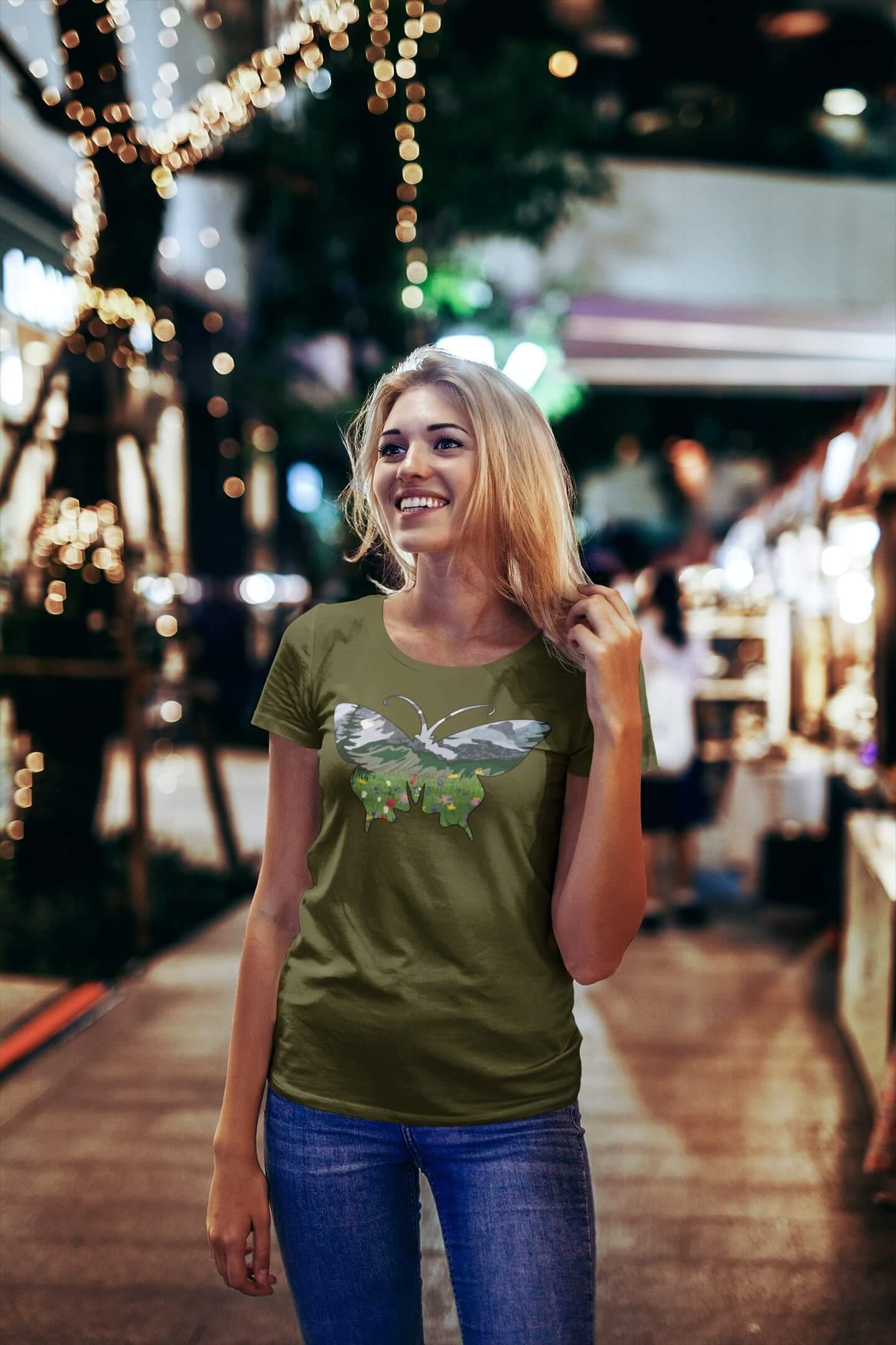 MMO Dámske tričko Motýľ Vyberte farbu: Khaki, Vyberte veľkosť: S