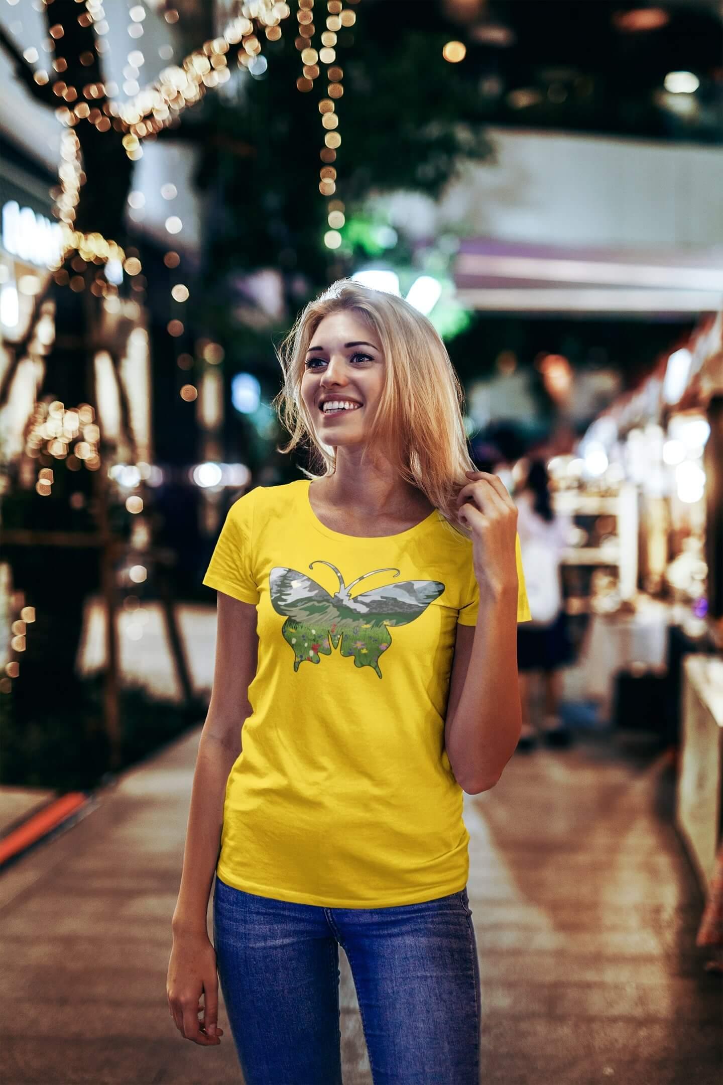 MMO Dámske tričko Motýľ Vyberte farbu: Žltá, Dámska veľkosť: S
