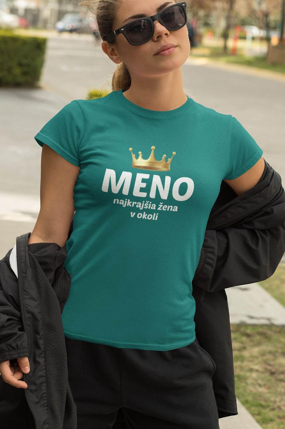 MMO Dámske tričko Najkrajšia žena v okolí Vyberte farbu: Čierna, Vyberte veľkosť: M