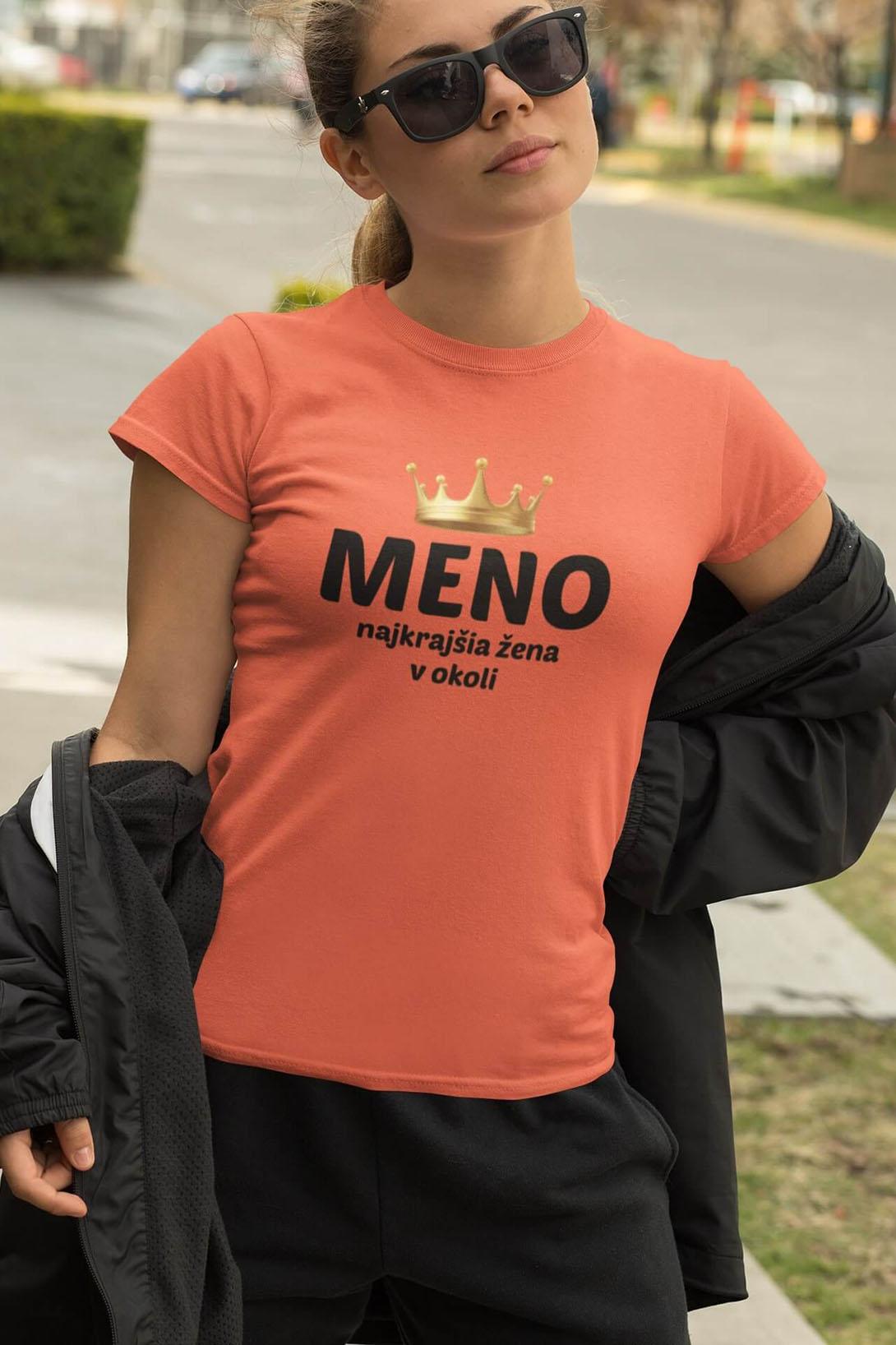 MMO Dámske tričko Najkrajšia žena v okolí Vyberte farbu: Khaki, Vyberte veľkosť: M