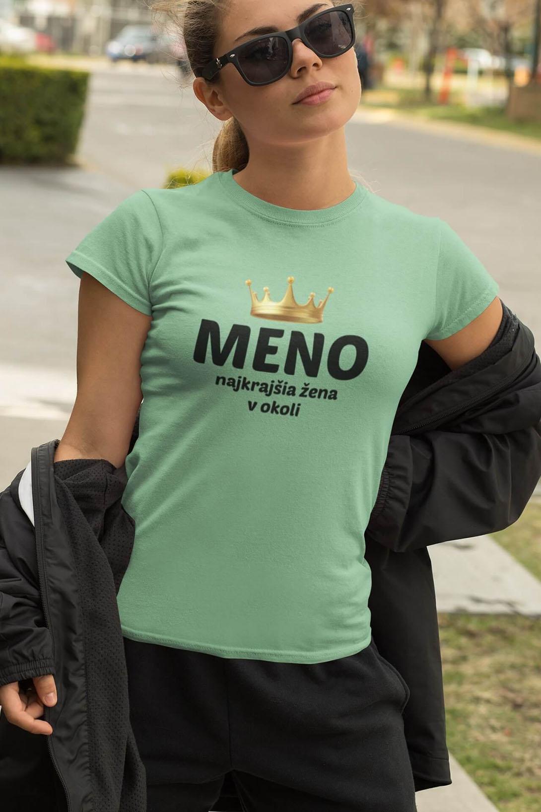 MMO Dámske tričko Najkrajšia žena v okolí Vyberte farbu: Svetlá khaki, Vyberte veľkosť: M