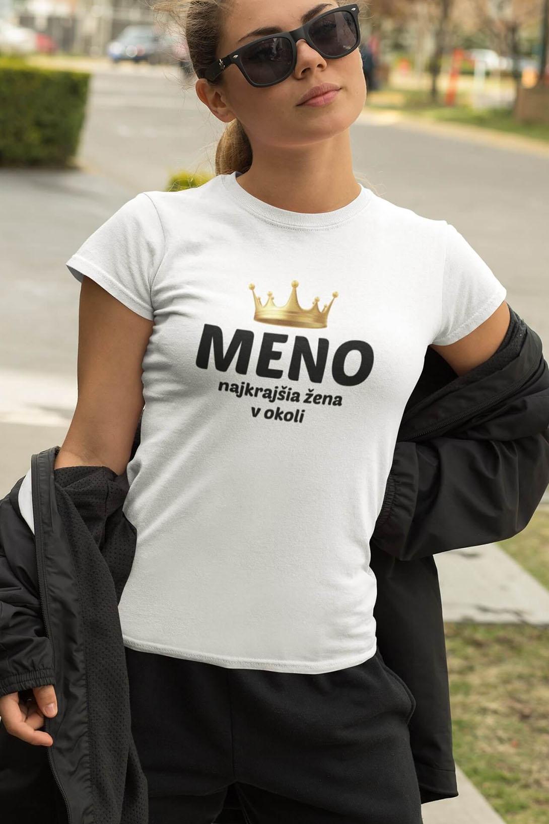 MMO Dámske tričko Najkrajšia žena v okolí Vyberte farbu: Fialová, Vyberte veľkosť: M