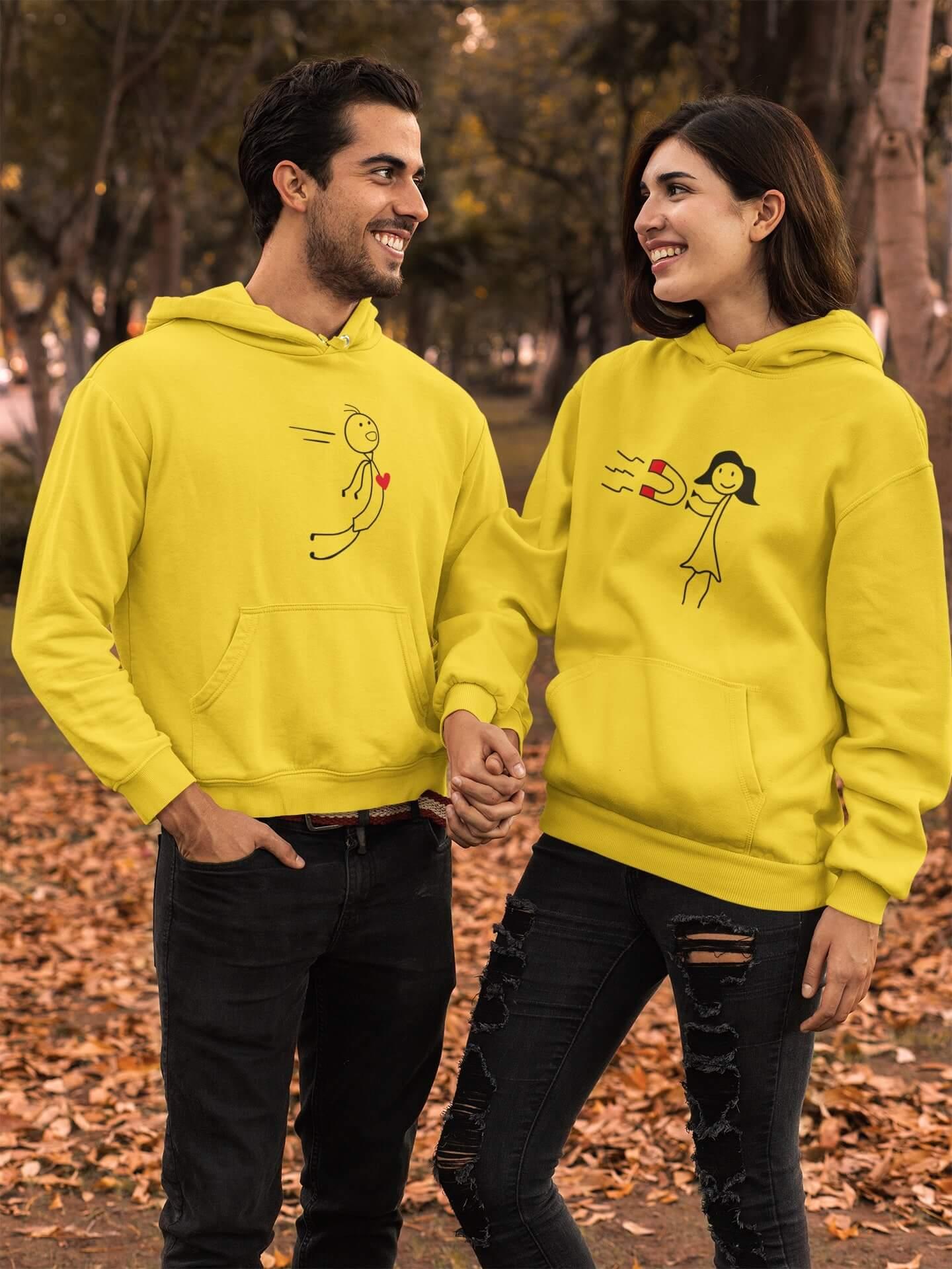 MMO Mikiny pre páry Magnet Farba: Žltá, Dámska veľkosť: S, Pánska veľkosť: S