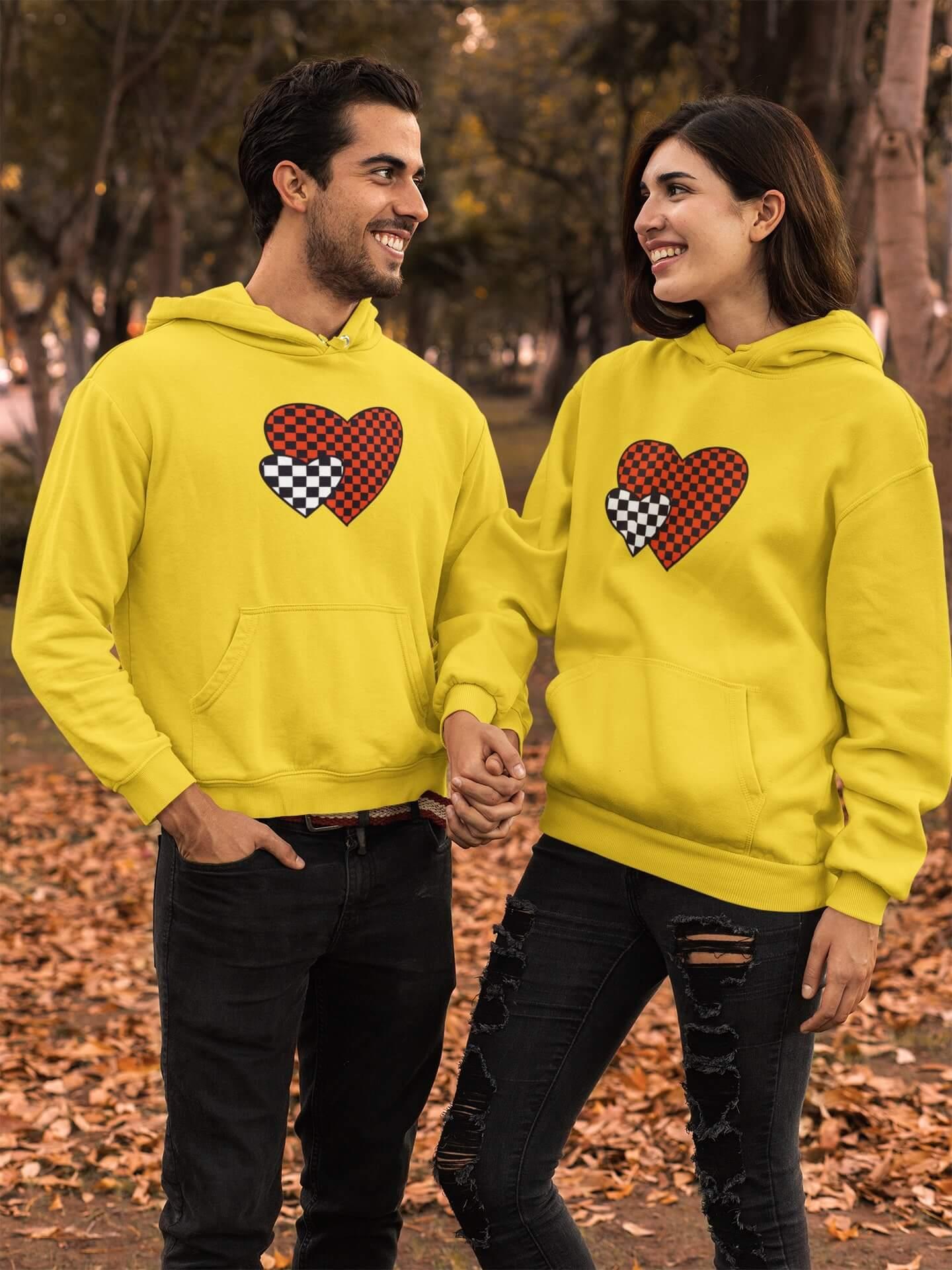 MMO Mikiny pre páry Srdiečka Farba: Žltá, Dámska veľkosť: S, Pánska veľkosť: S