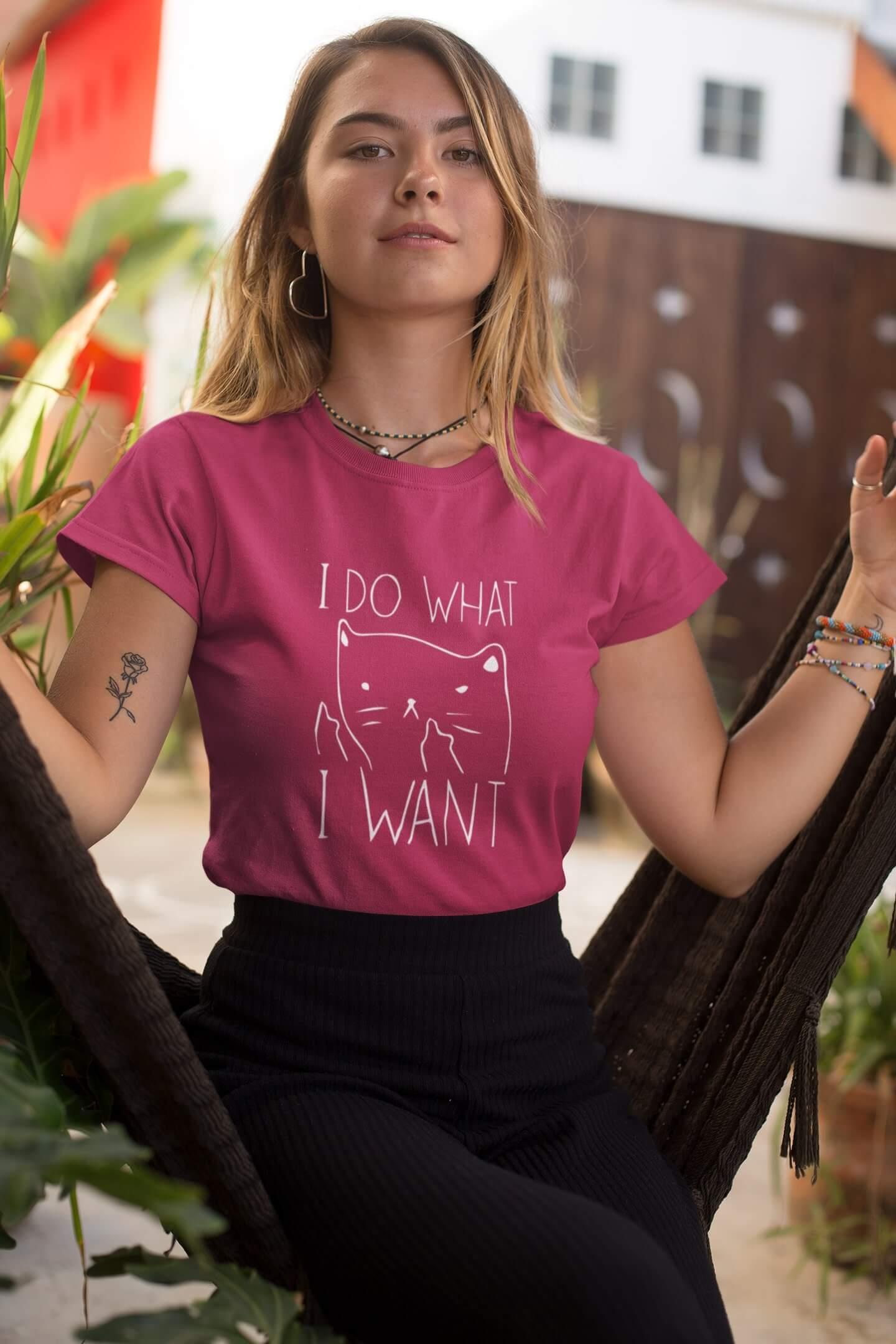 MMO Dámske tričko I DO WHAT I WANT Vyberte farbu: Purpurová, Vyberte veľkosť: M