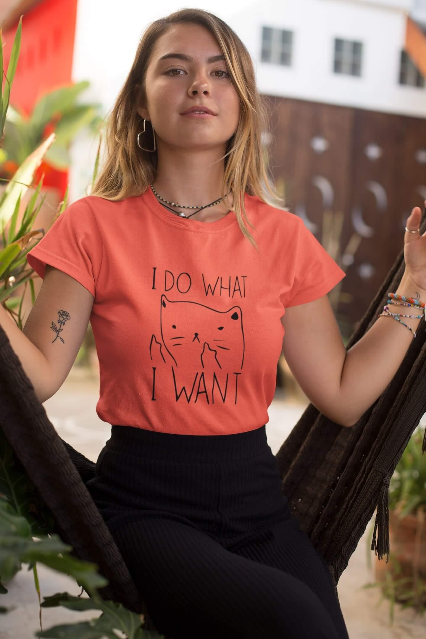 MMO Dámske tričko I DO WHAT I WANT Vyberte farbu: Korálová, Vyberte veľkosť: M