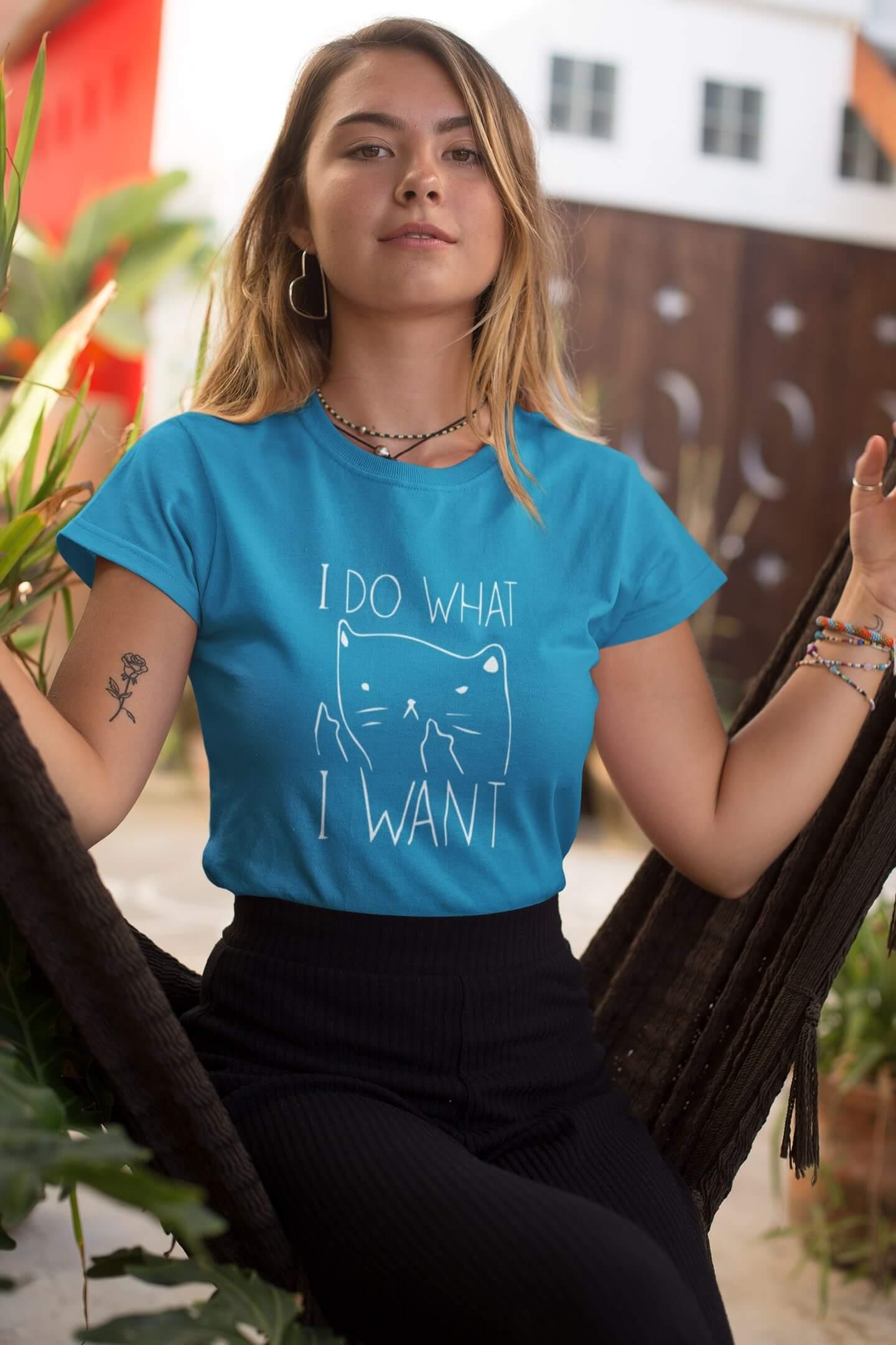 MMO Dámske tričko I DO WHAT I WANT Vyberte farbu: Tyrkysová, Vyberte veľkosť: M