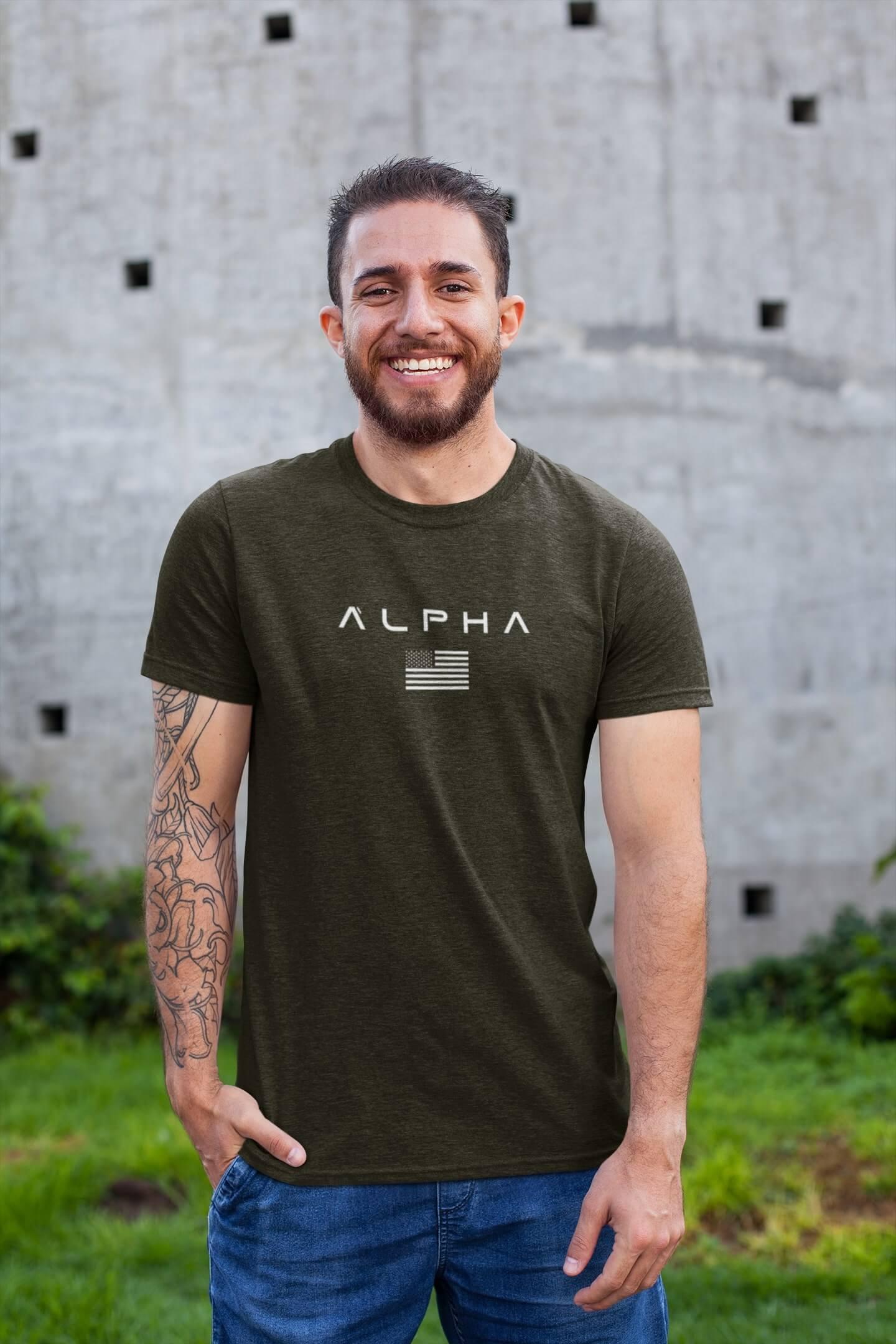 MMO Pánske tričko ALPHA Vyberte farbu: Military, Vyberte veľkosť: XS