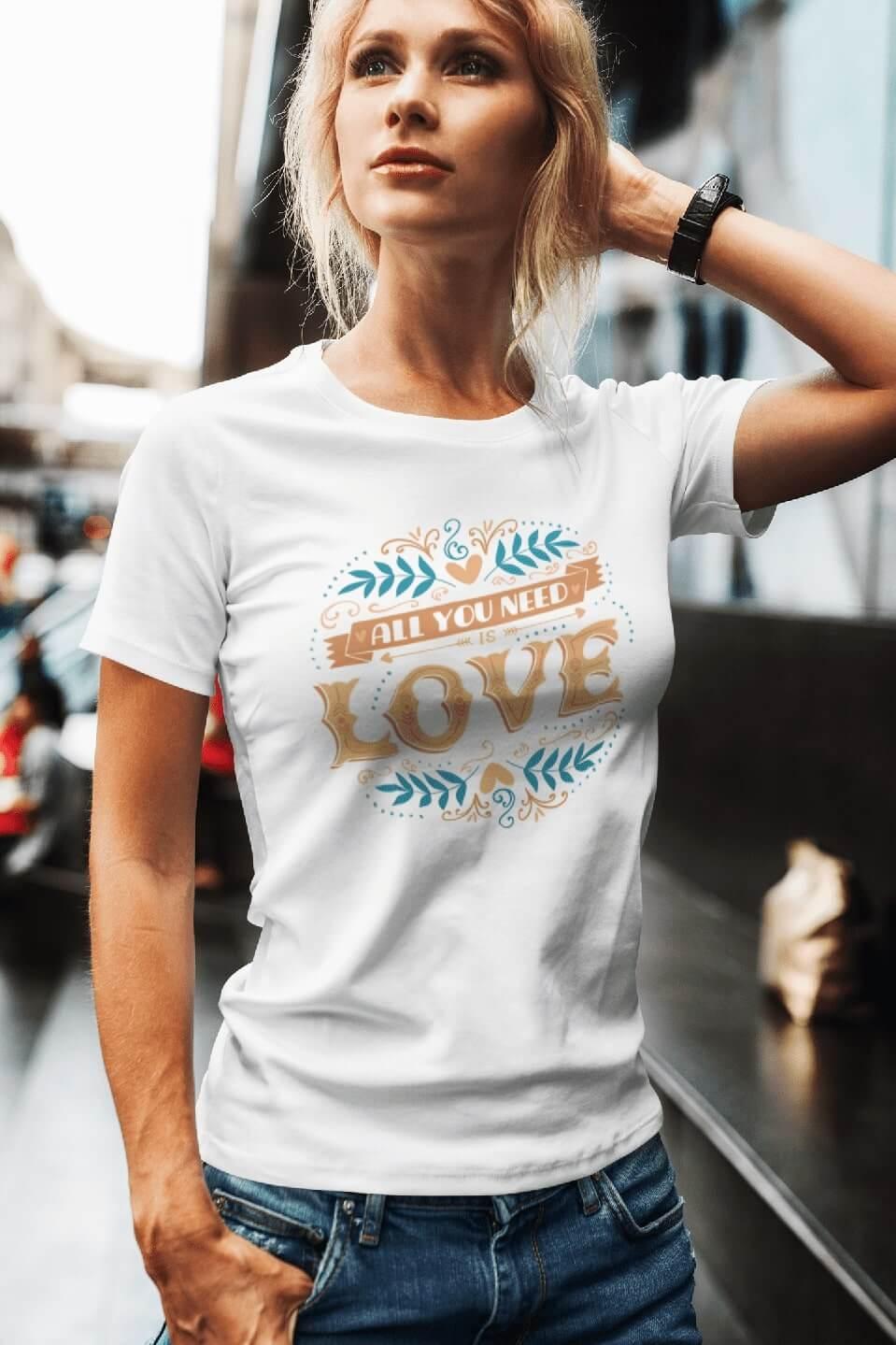MMO Dámske tričko LOVE Vyberte farbu: Biela, Vyberte veľkosť: XS