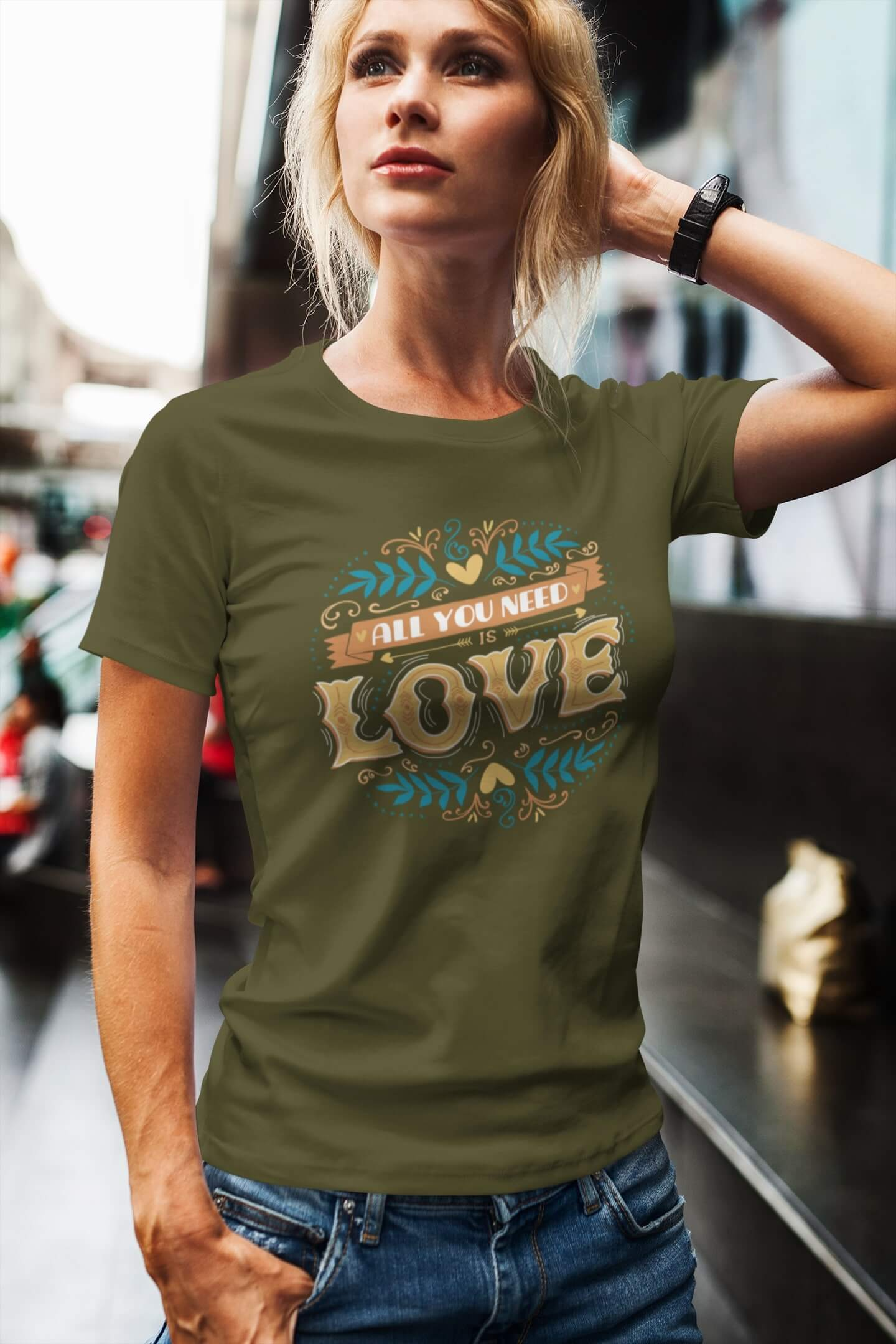 MMO Dámske tričko LOVE Vyberte farbu: Khaki, Vyberte veľkosť: XS