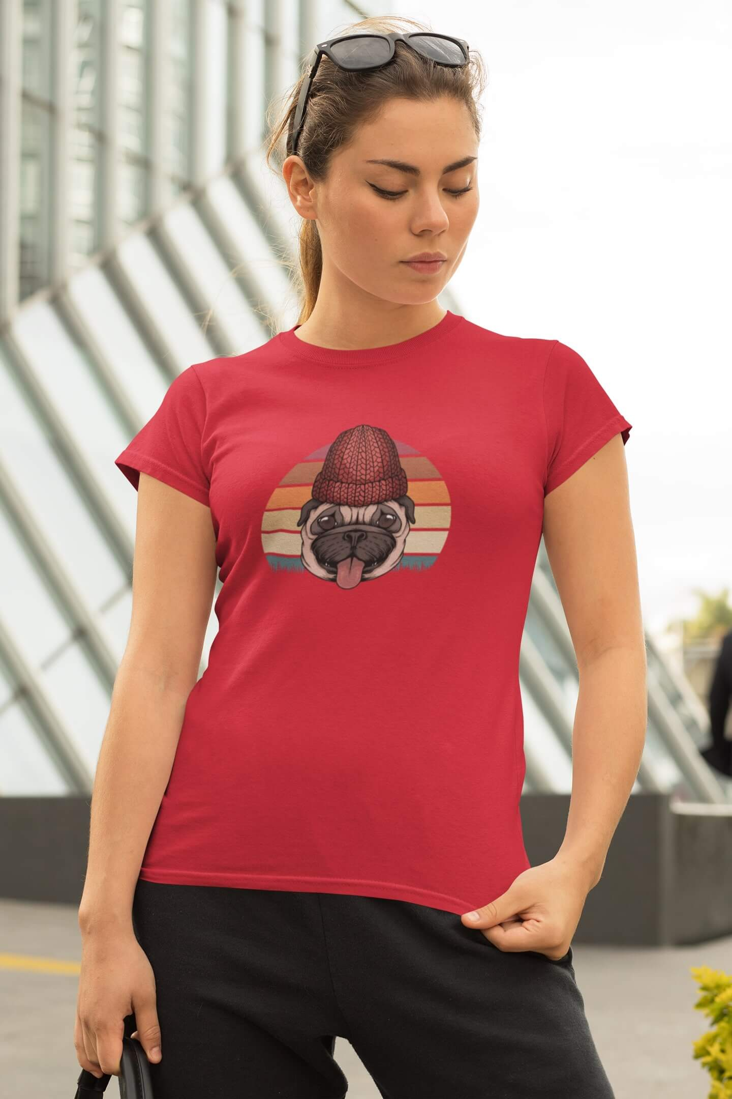 MMO Dámske tričko PUG Vyberte farbu: Červená, Dámska veľkosť: M