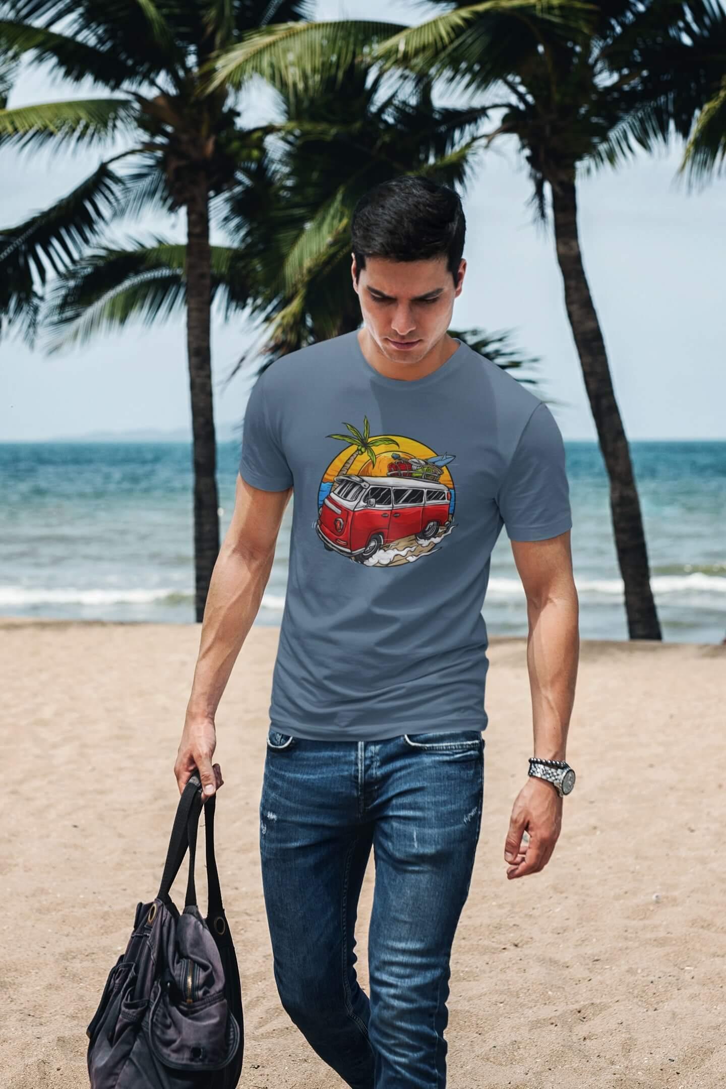 MMO Pánske tričko Minibus Vyberte farbu: Denim, Vyberte veľkosť: XS