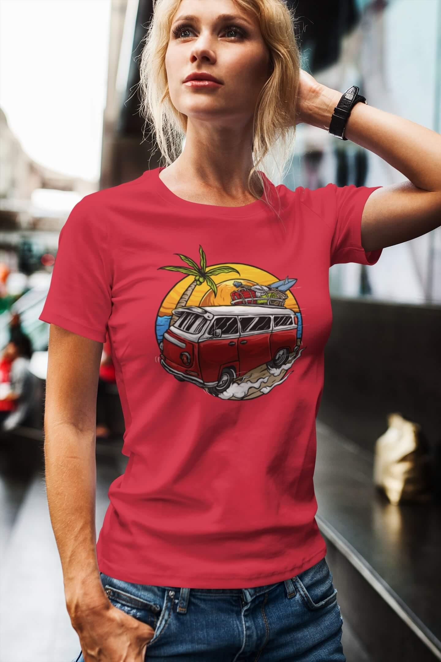 MMO Dámske tričko Minibus Vyberte farbu: Červená, Dámska veľkosť: M