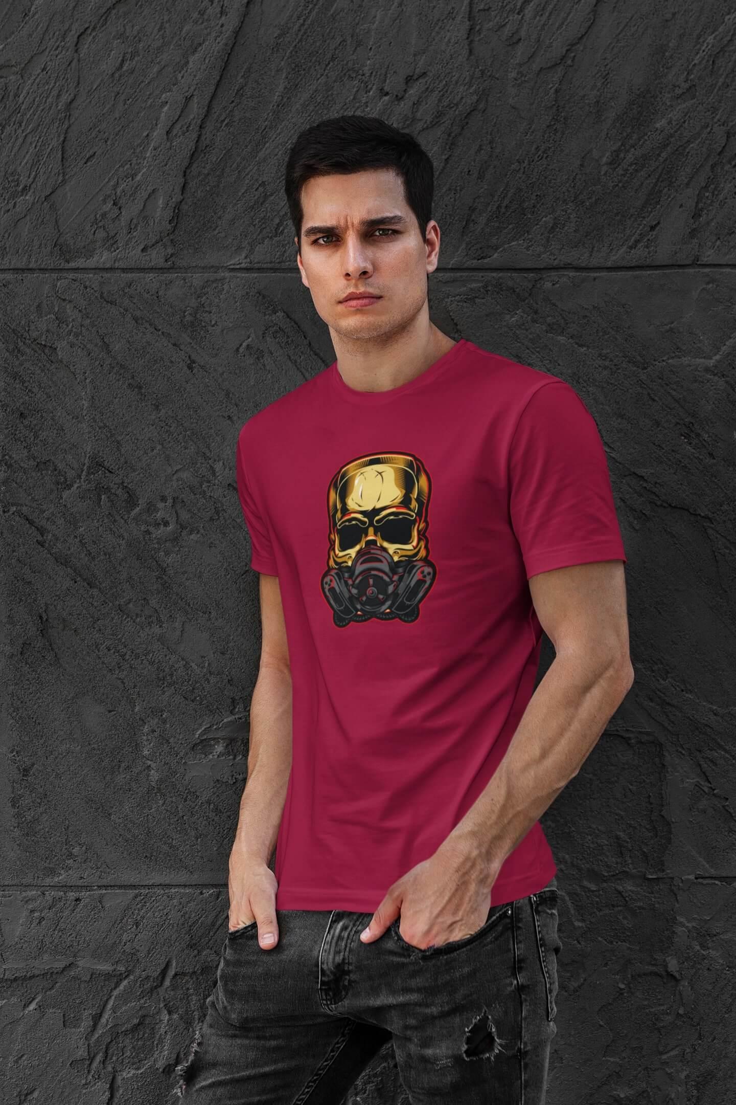 MMO Pánske tričko Lebka s respirátorom Vyberte farbu: Marlboro červená, Vyberte veľkosť: XL