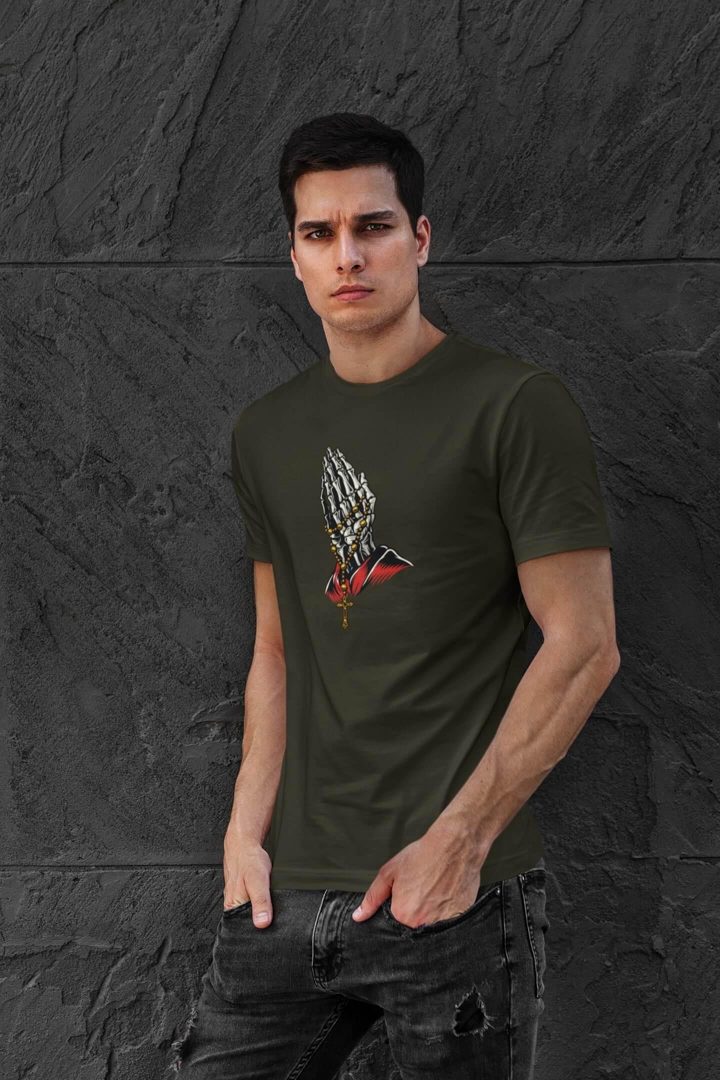 MMO Pánske tričko Ruky Vyberte farbu: Military, Vyberte veľkosť: XS