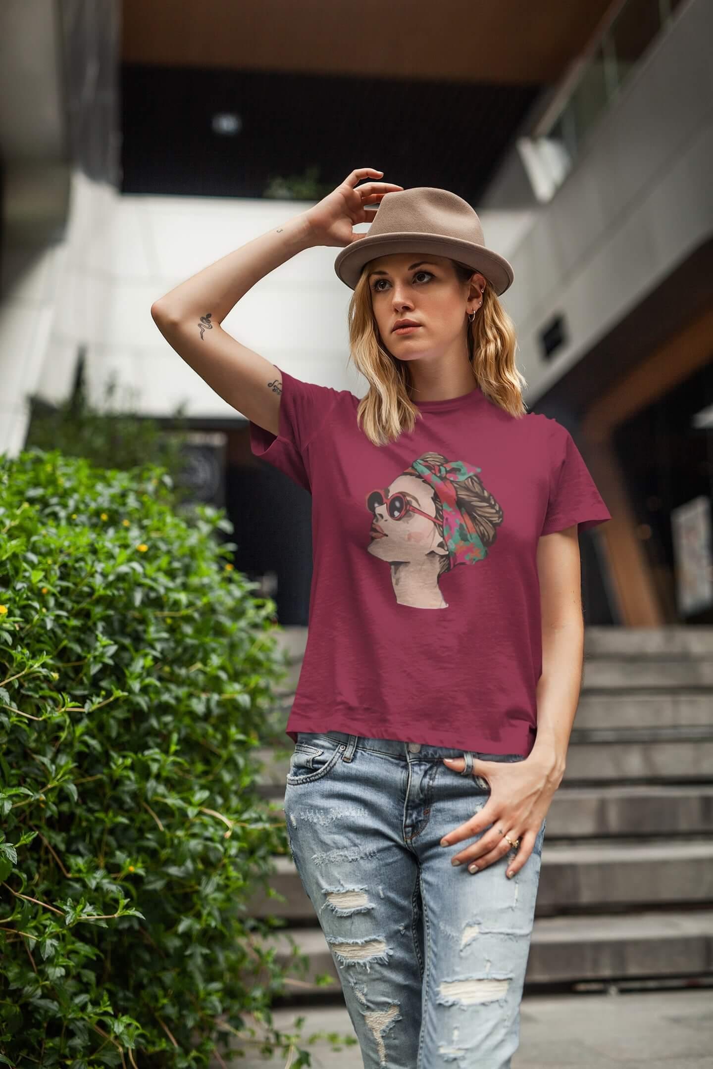 MMO Dámske tričko Dievča s okuliarmi Vyberte farbu: Marlboro červená, Vyberte veľkosť: XL