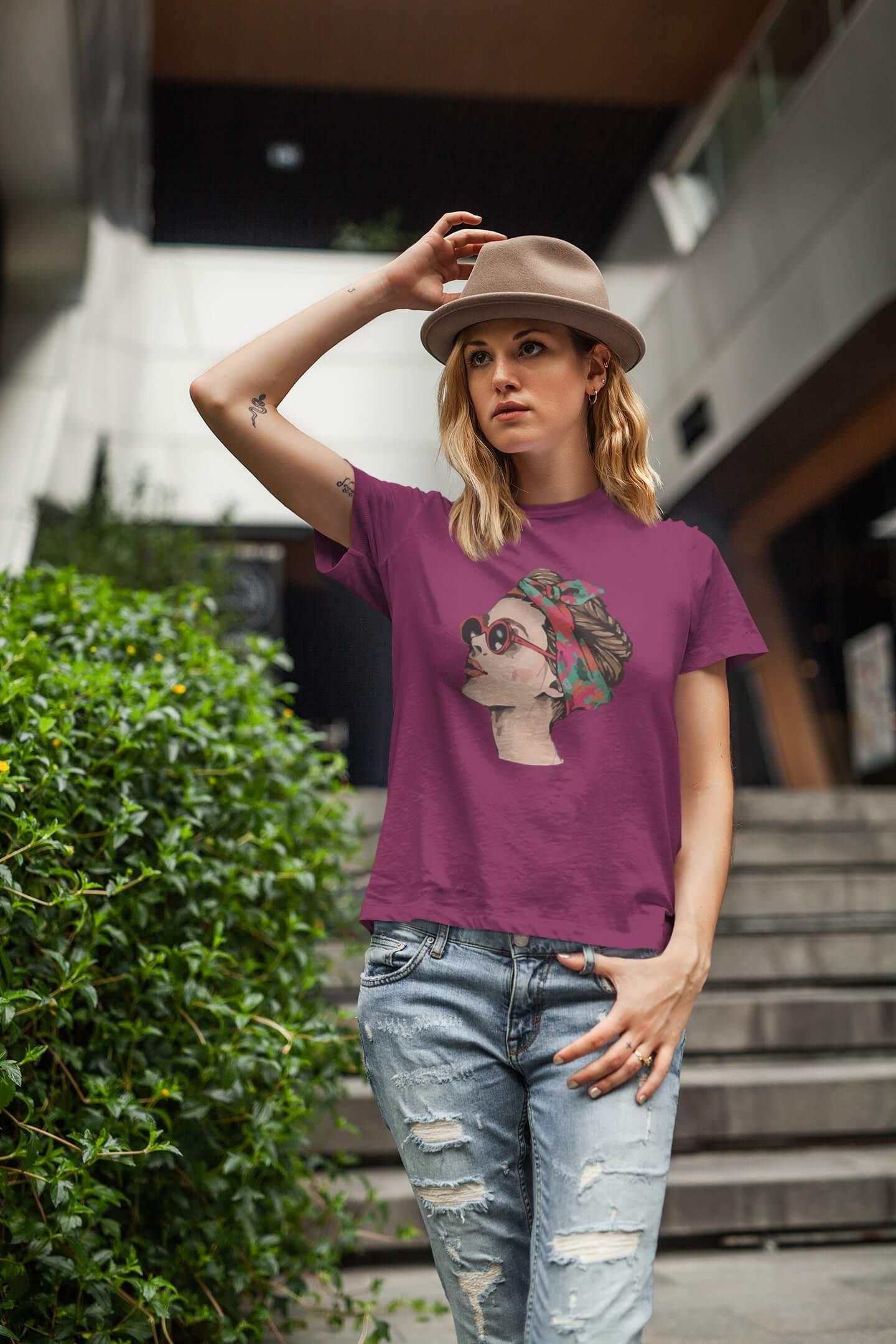 MMO Dámske tričko Dievča s okuliarmi Vyberte farbu: Fuchsiovo červená, Vyberte veľkosť: XL