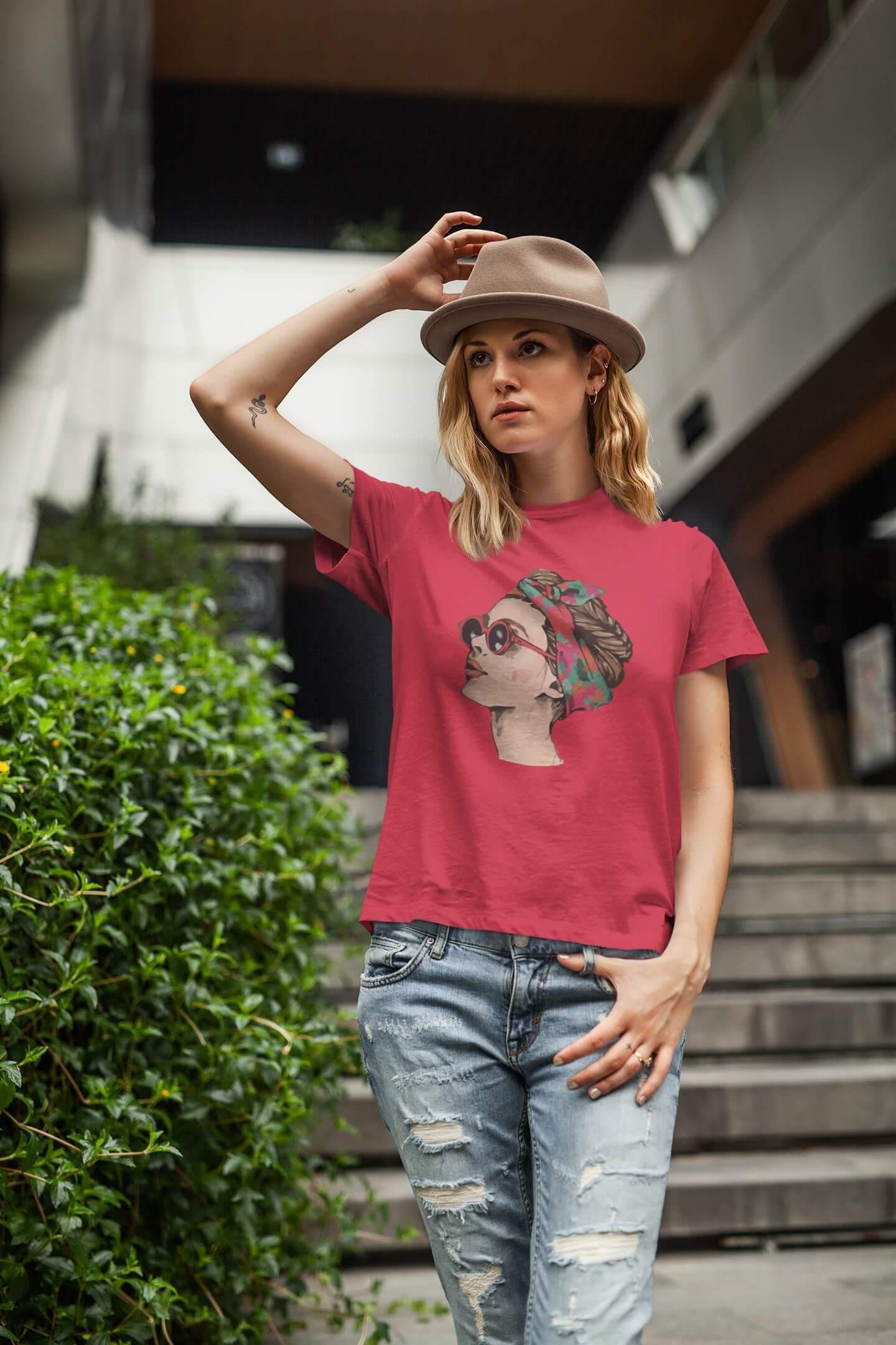 MMO Dámske tričko Dievča s okuliarmi Vyberte farbu: Červená, Vyberte veľkosť: XL