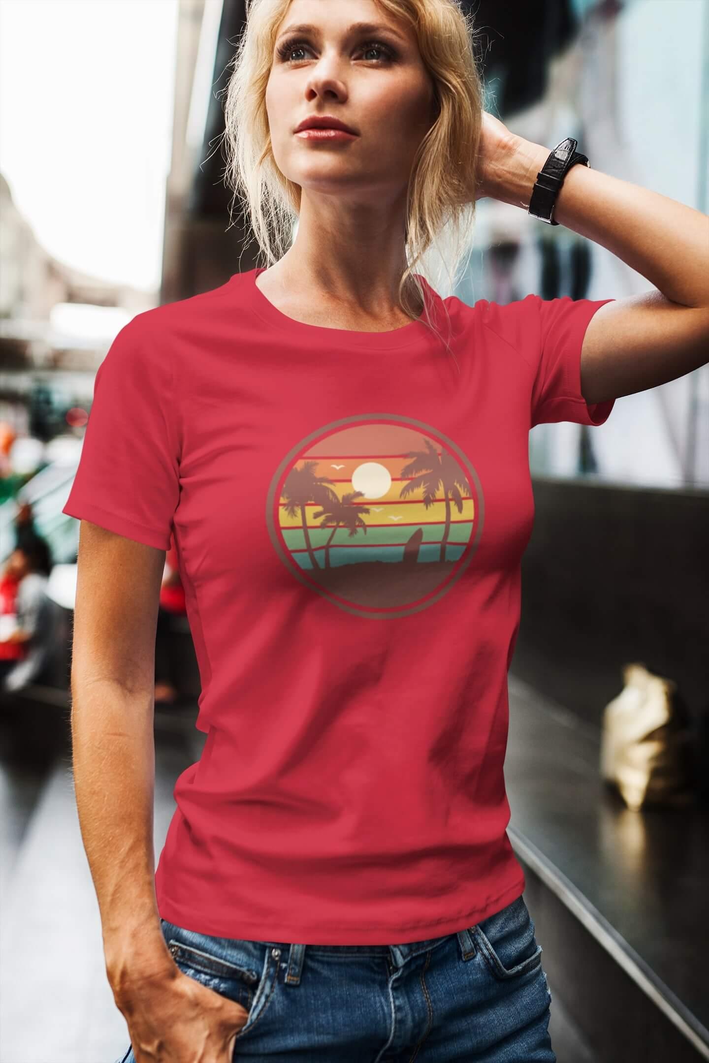 MMO Dámske tričko Pláž Vyberte farbu: Červená, Dámska veľkosť: M