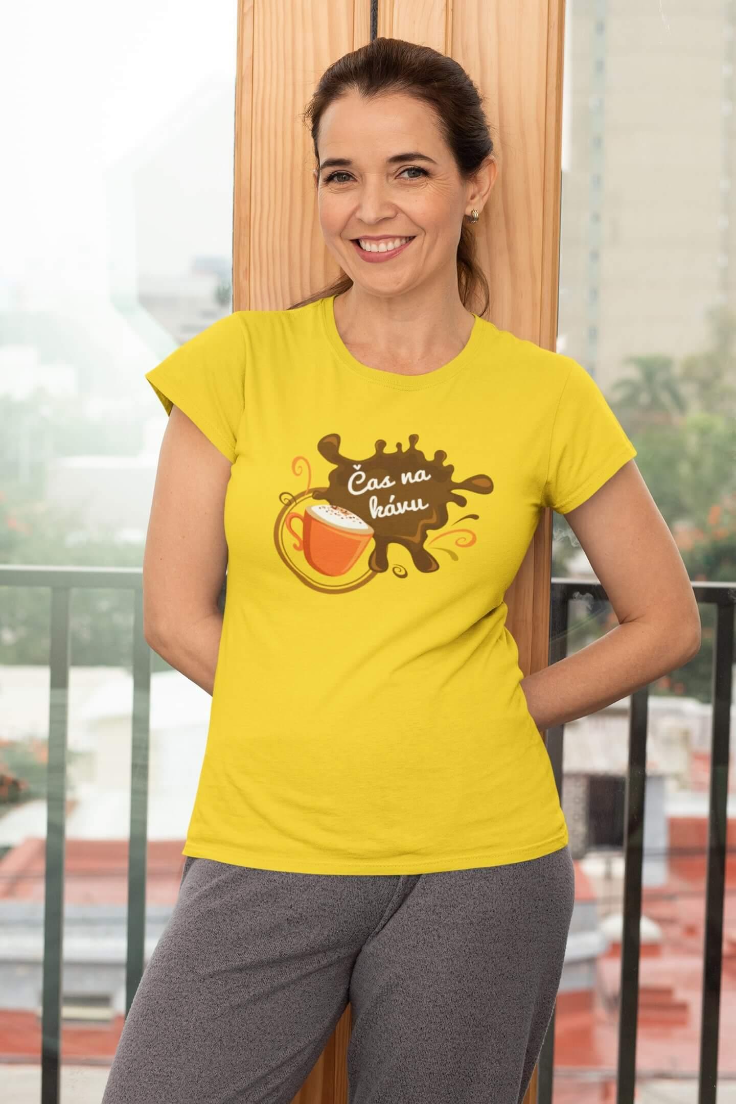 MMO Dámske tričko Čas na kávu Vyberte farbu: Žltá, Dámska veľkosť: XS