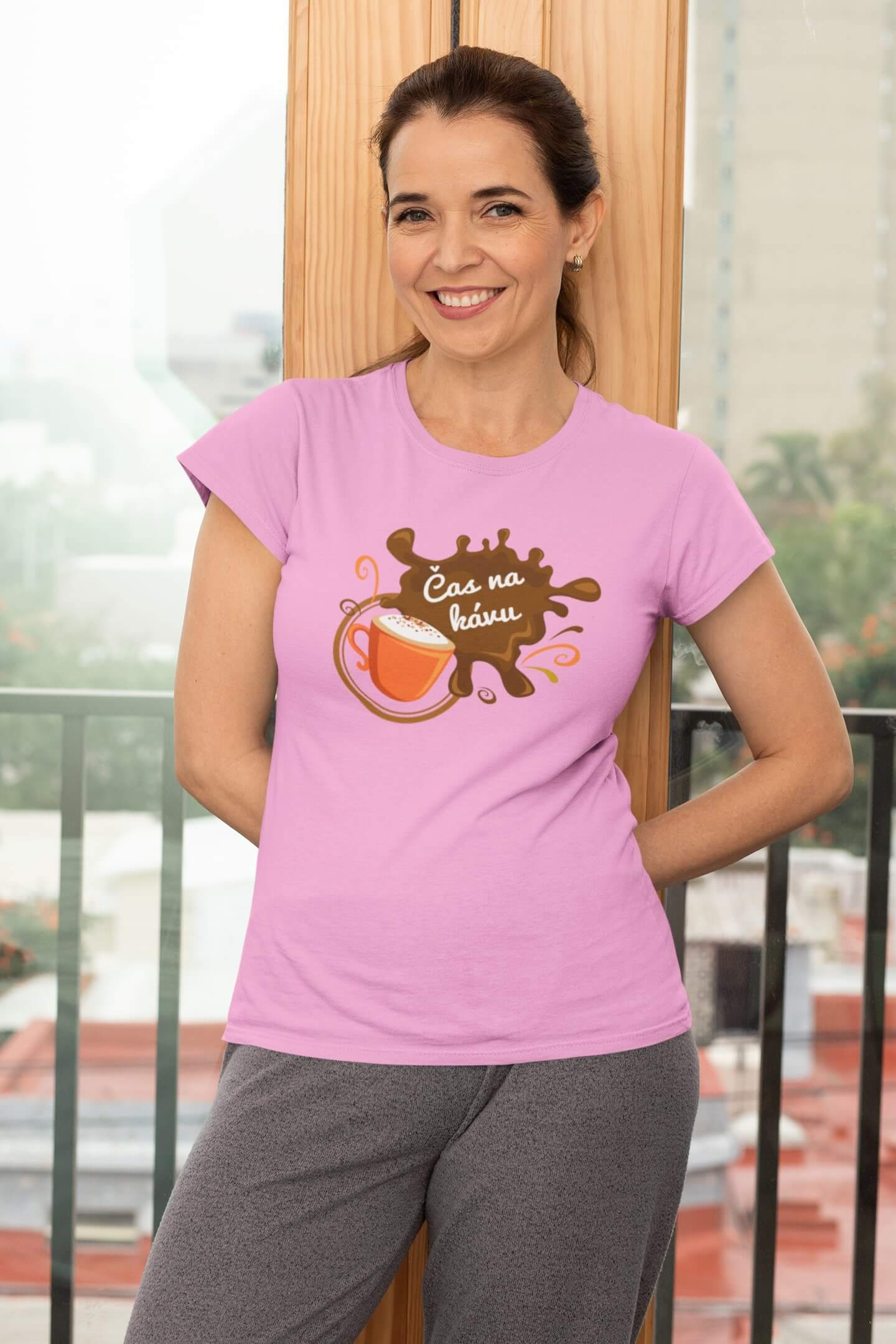 MMO Dámske tričko Čas na kávu Vyberte farbu: Ružová, Dámska veľkosť: XS