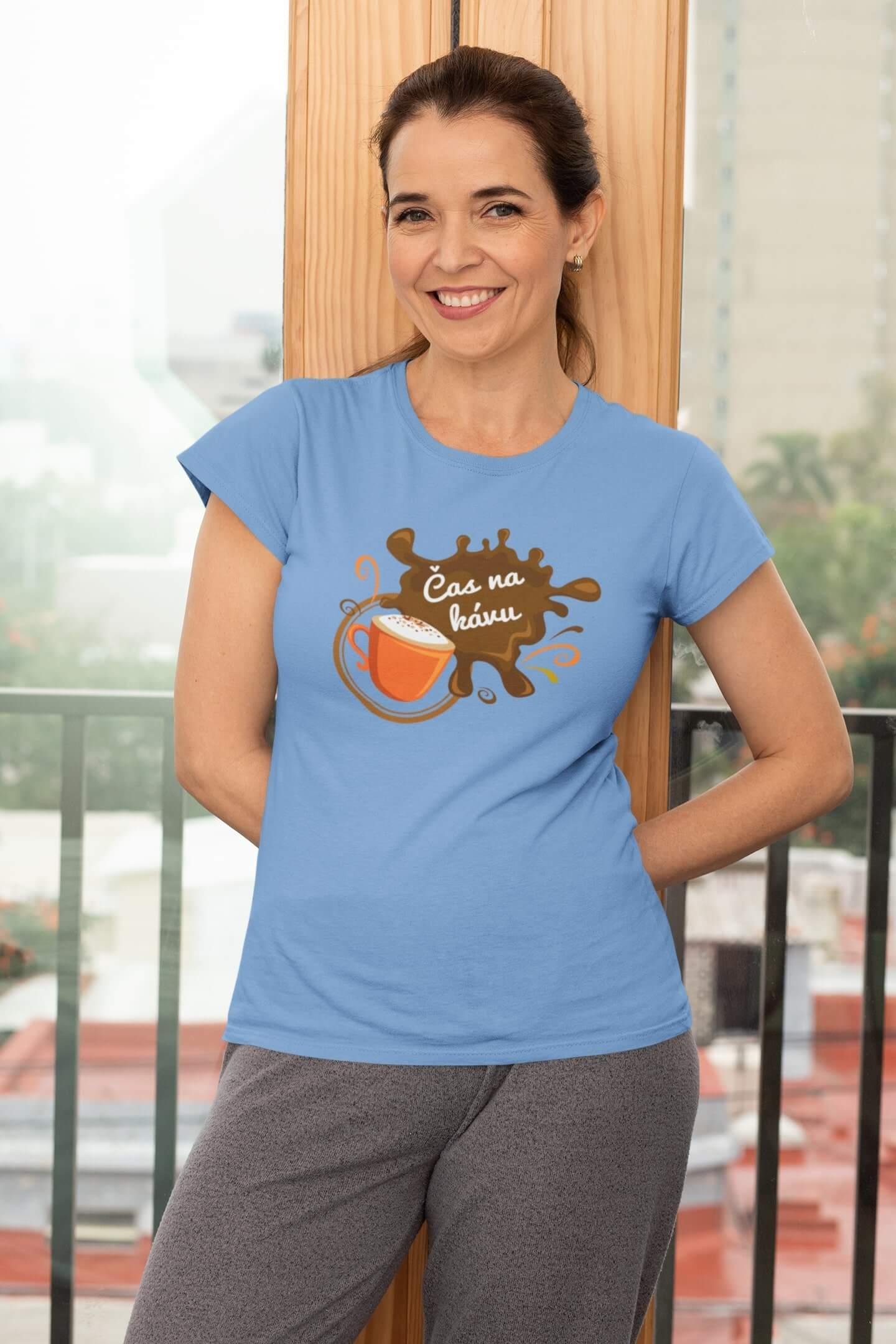 MMO Dámske tričko Čas na kávu Vyberte farbu: Svetlomodrá, Dámska veľkosť: XS