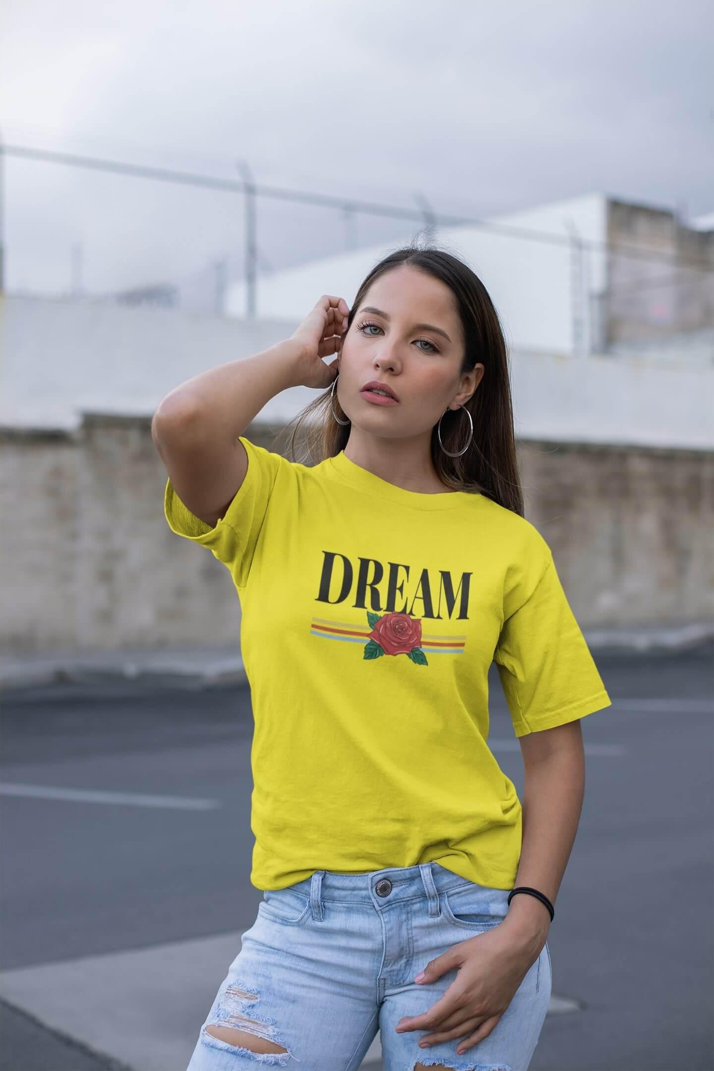 MMO Dámske tričko Dream Vyberte farbu: Citrónová, Vyberte veľkosť: M