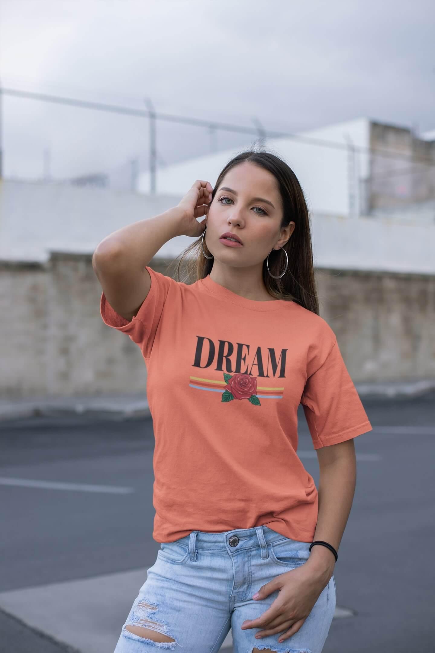 MMO Dámske tričko Dream Vyberte farbu: Korálová, Vyberte veľkosť: M
