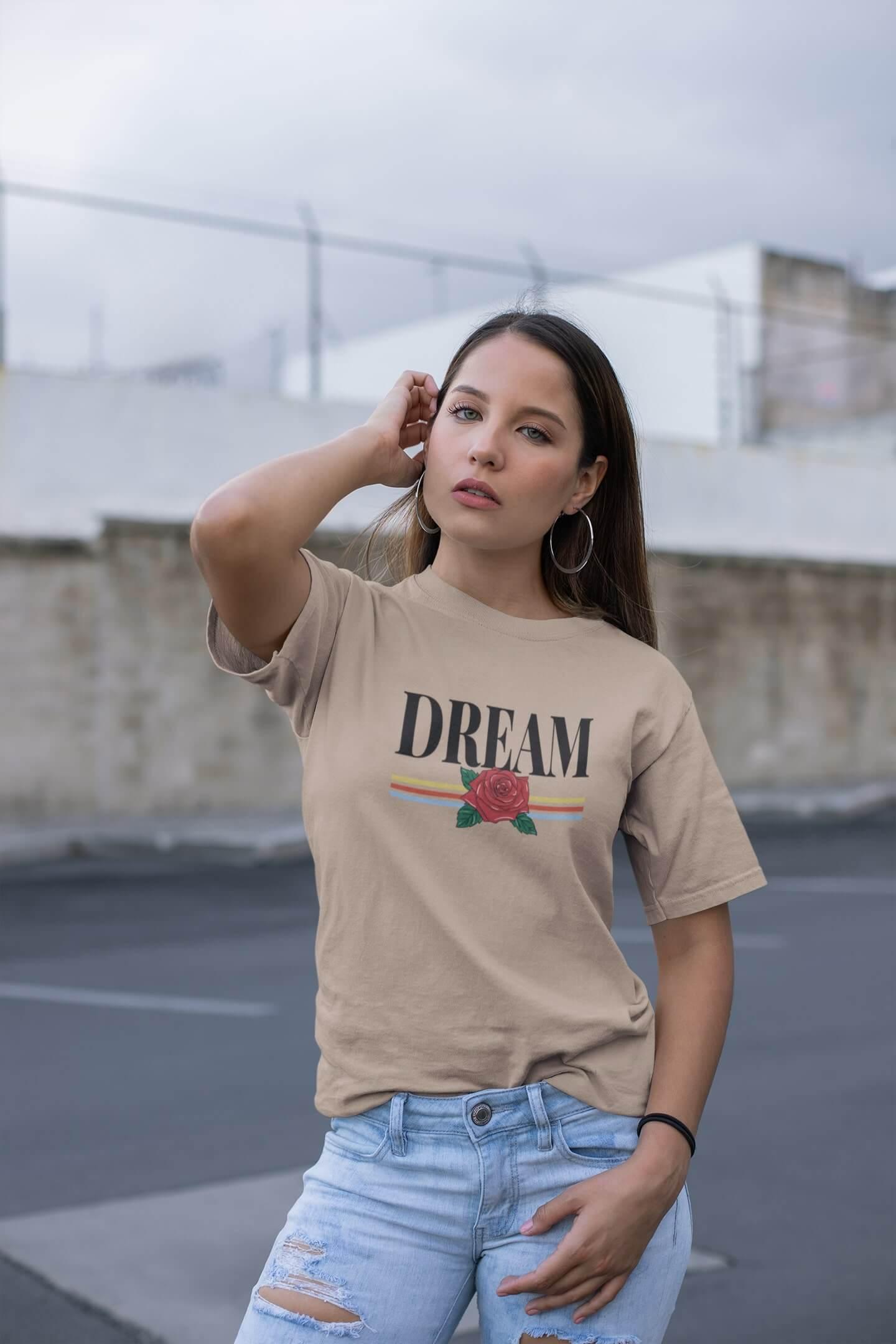 MMO Dámske tričko Dream Vyberte farbu: Piesková, Vyberte veľkosť: M