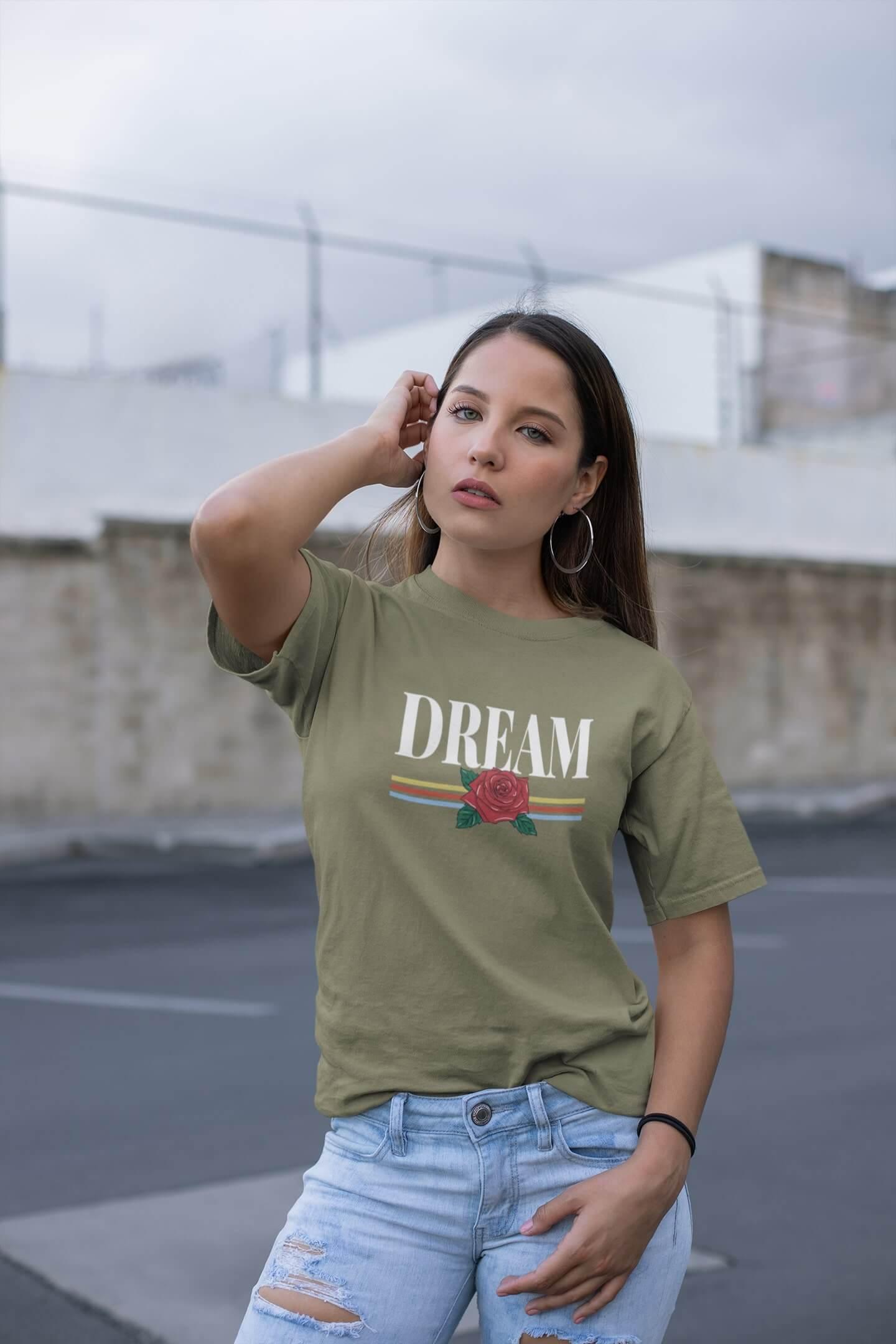MMO Dámske tričko Dream Vyberte farbu: Svetlá khaki, Vyberte veľkosť: L