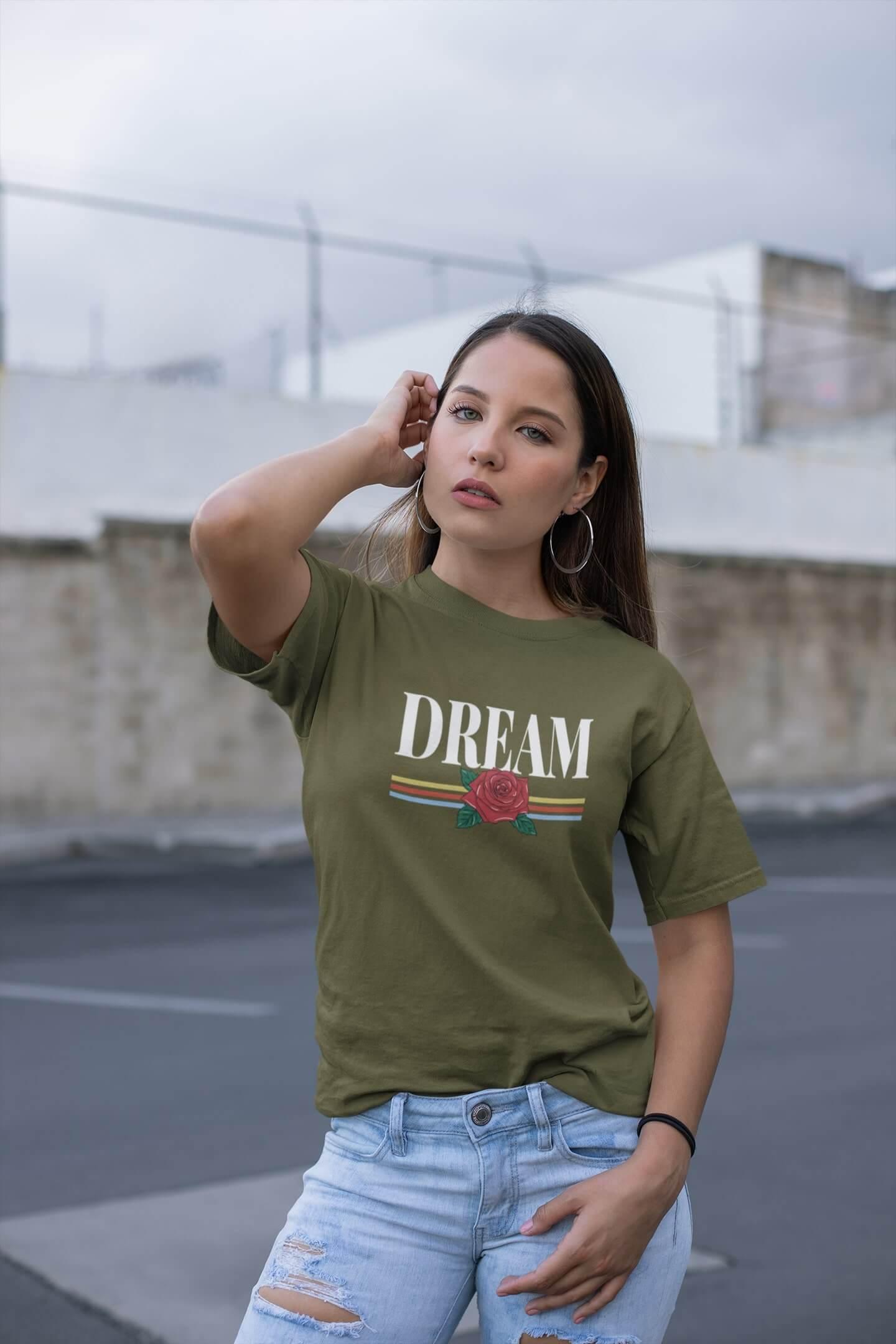 MMO Dámske tričko Dream Vyberte farbu: Khaki, Vyberte veľkosť: M
