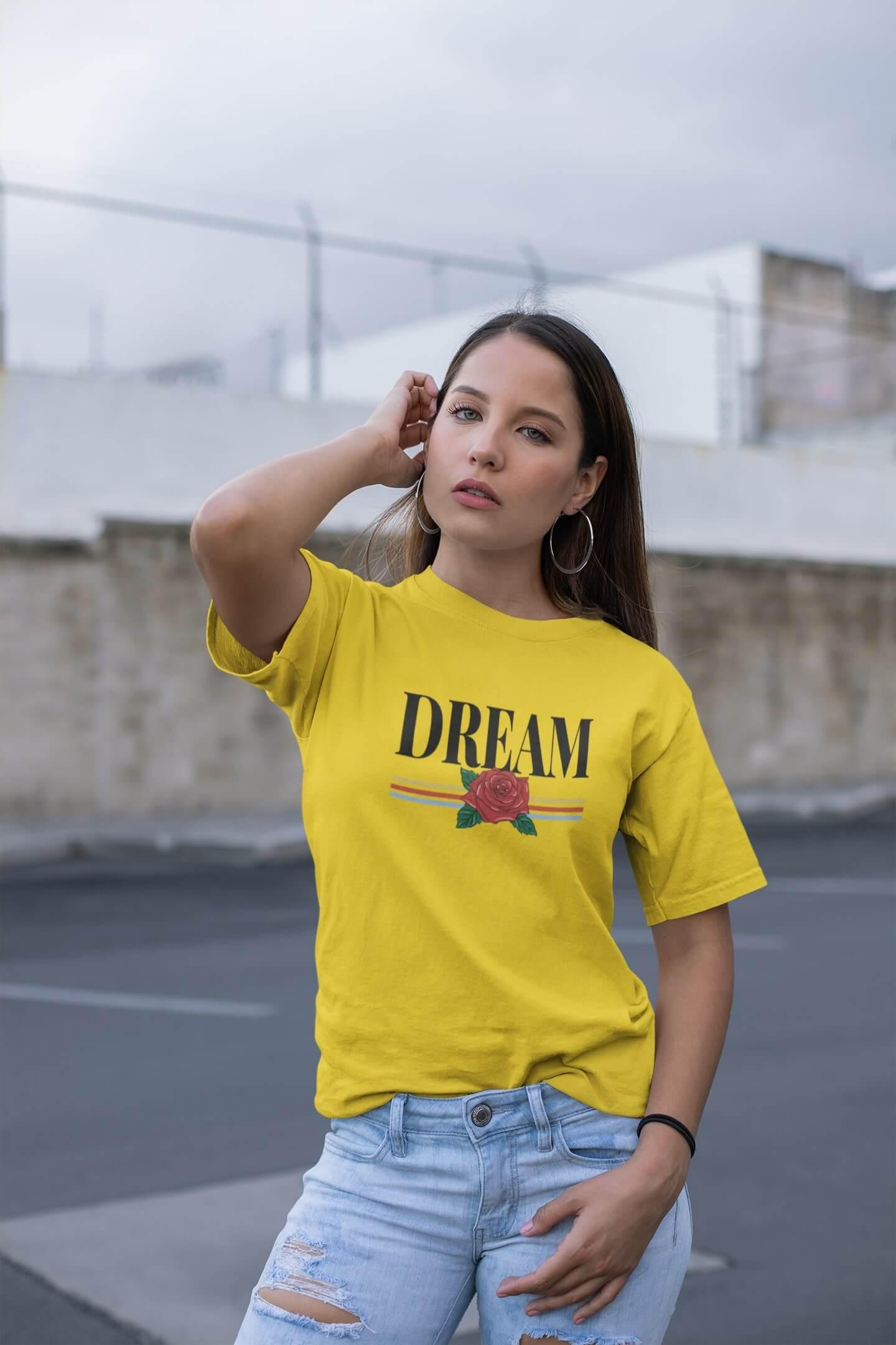 MMO Dámske tričko Dream Vyberte farbu: Žltá, Vyberte veľkosť: M