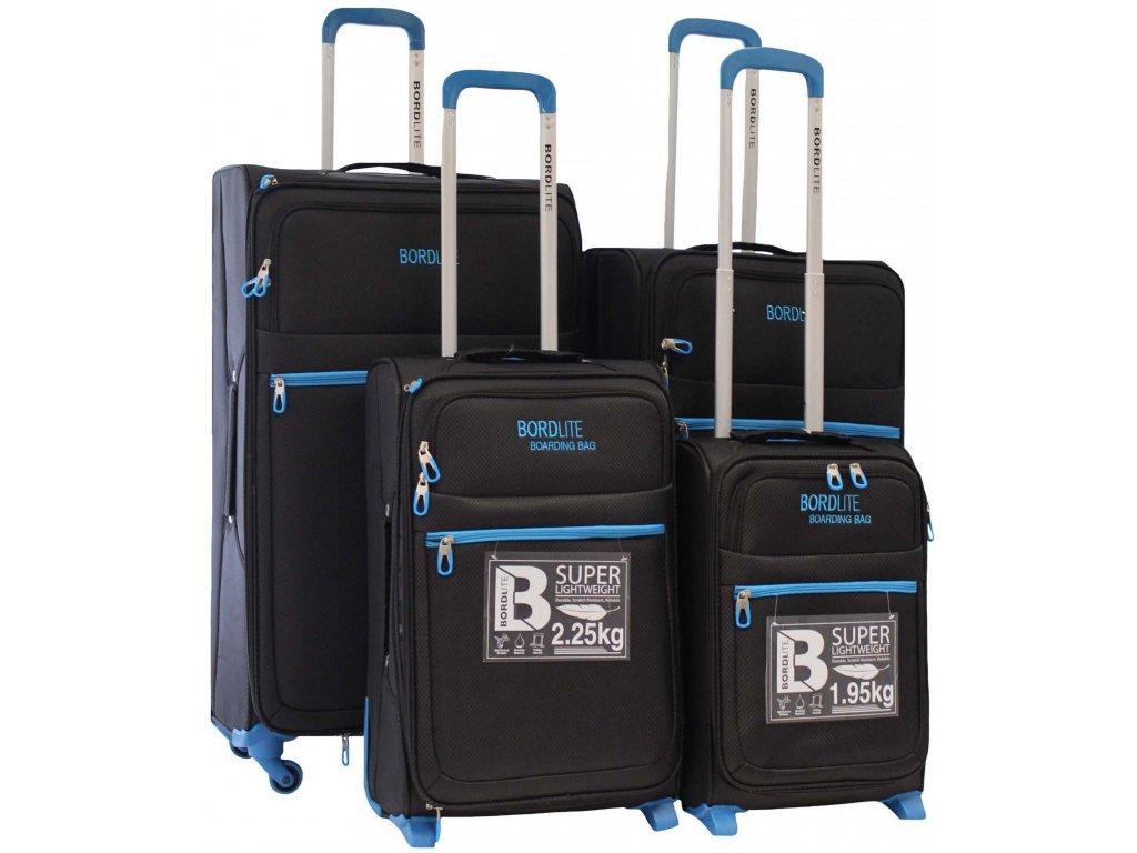 Sada 4 super lehkých 2 kolových kufrů JB2015 BLACK/BLUE