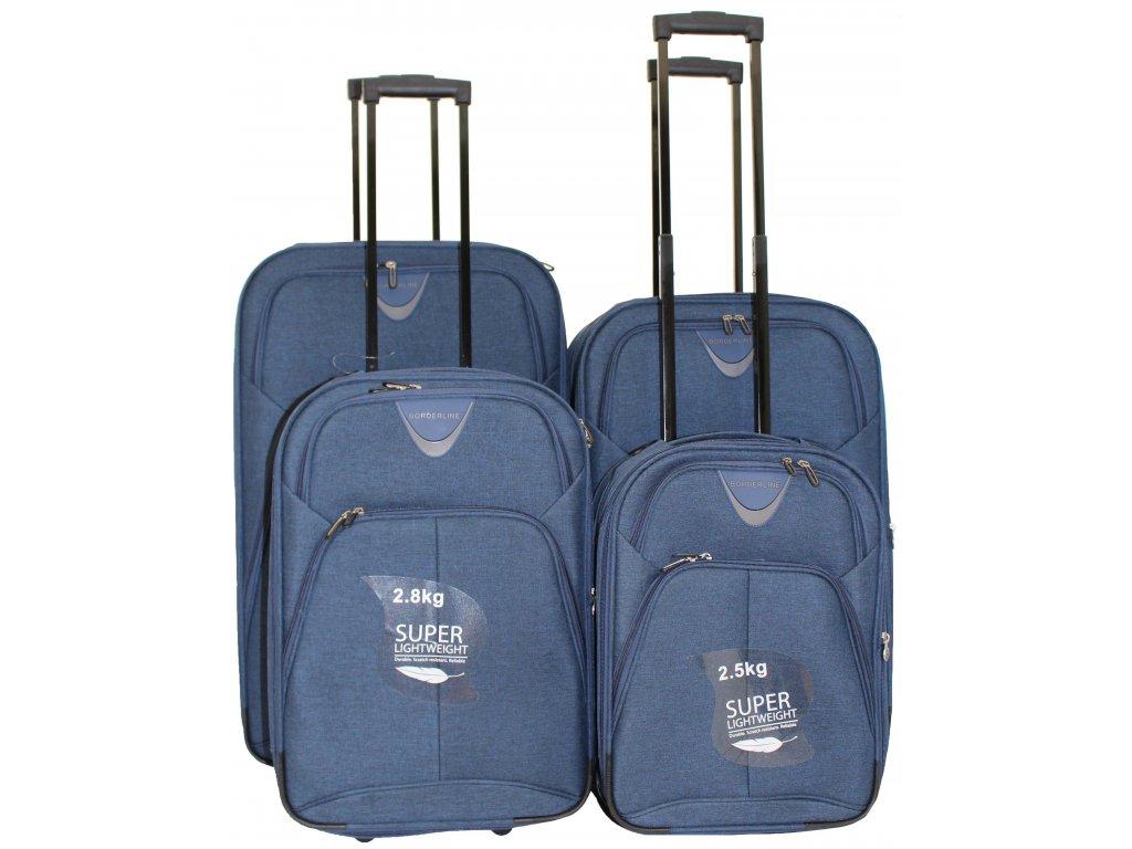 Sada 4 super lehkých 2 kolových kufrů - JB 10091 TWILL MODRÝ