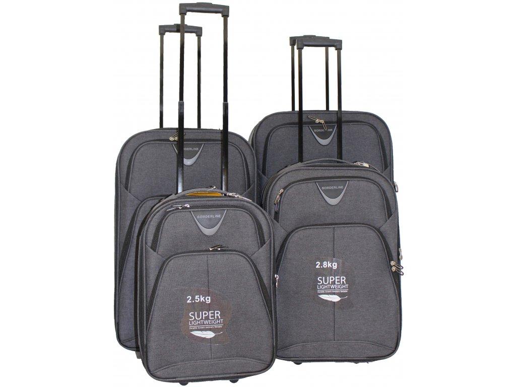 Sada 4 super lehkých 2 kolových kufrů - JB 10091 TWILL ČERNÝ