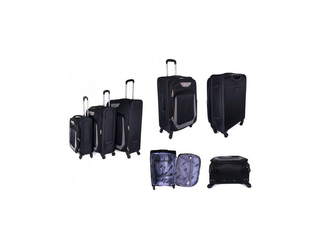 Sada 3 super lehkých 2 kolových kufrů - JB2022 - ČERNO/ŠEDÝ