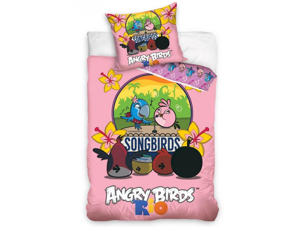 Carbotex Bavlněné povlečení Angry Birds KARAOKE 140x200/70x80