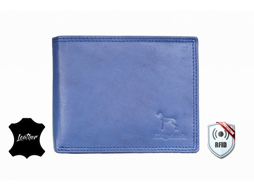 Kožená peněženka s ochranou RFID - JBNC 48 MN- MODRÁ