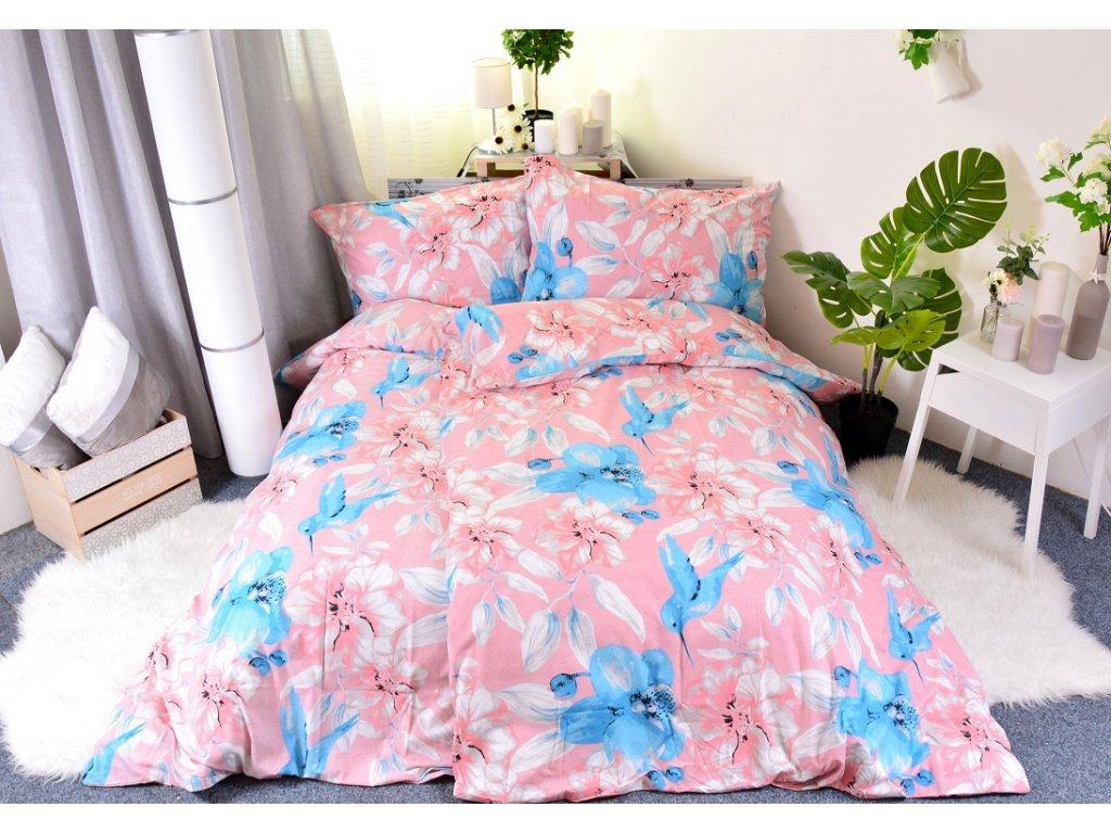 Aaryans bavlněné povlečení Kolibřík B-007 růžové 140x200/70x90