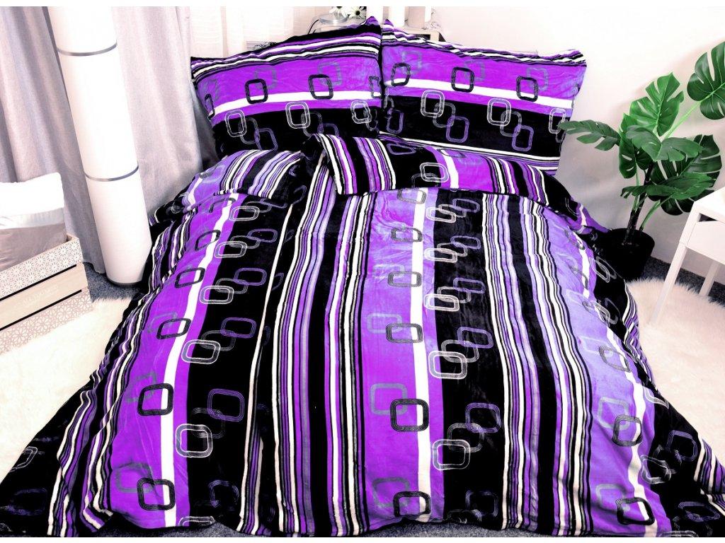 Aaryans Povlečení z mikroflanelu VELVET fialový,140X200/70X90cm