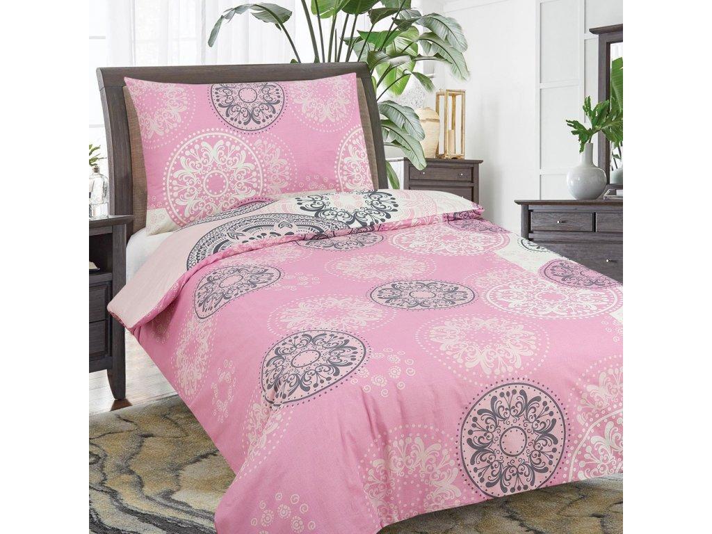 Francouzské bavlněné povlečení OLIVIE růžové 220x200/90x70cm