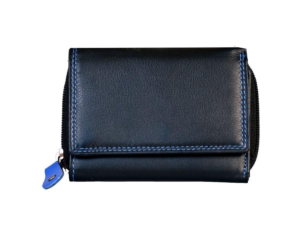 Dámská kožená peněženka s ochranou RFID JBPL 01- černá/modrá