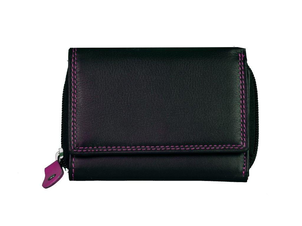 Dámská kožená peněženka s ochranou RFID JBPL 01- černá/růžová