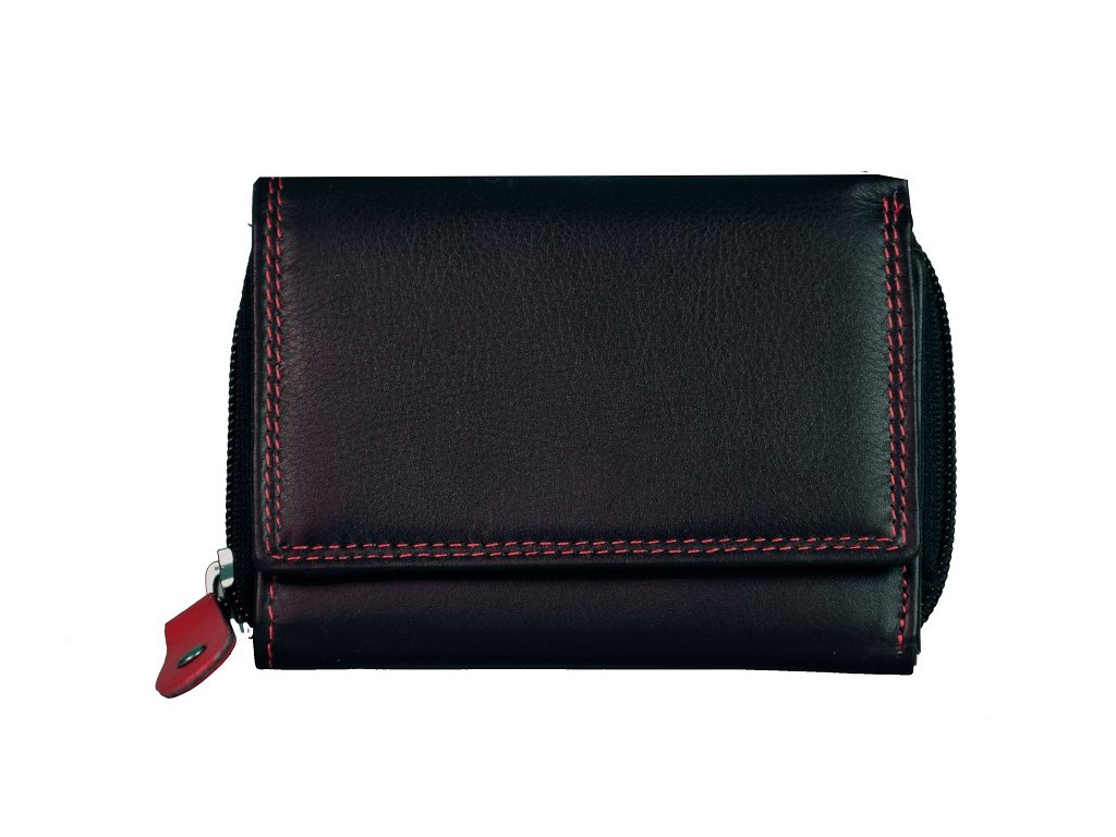 Dámská kožená peněženka s ochranou RFID JBPL 01- černá/červená